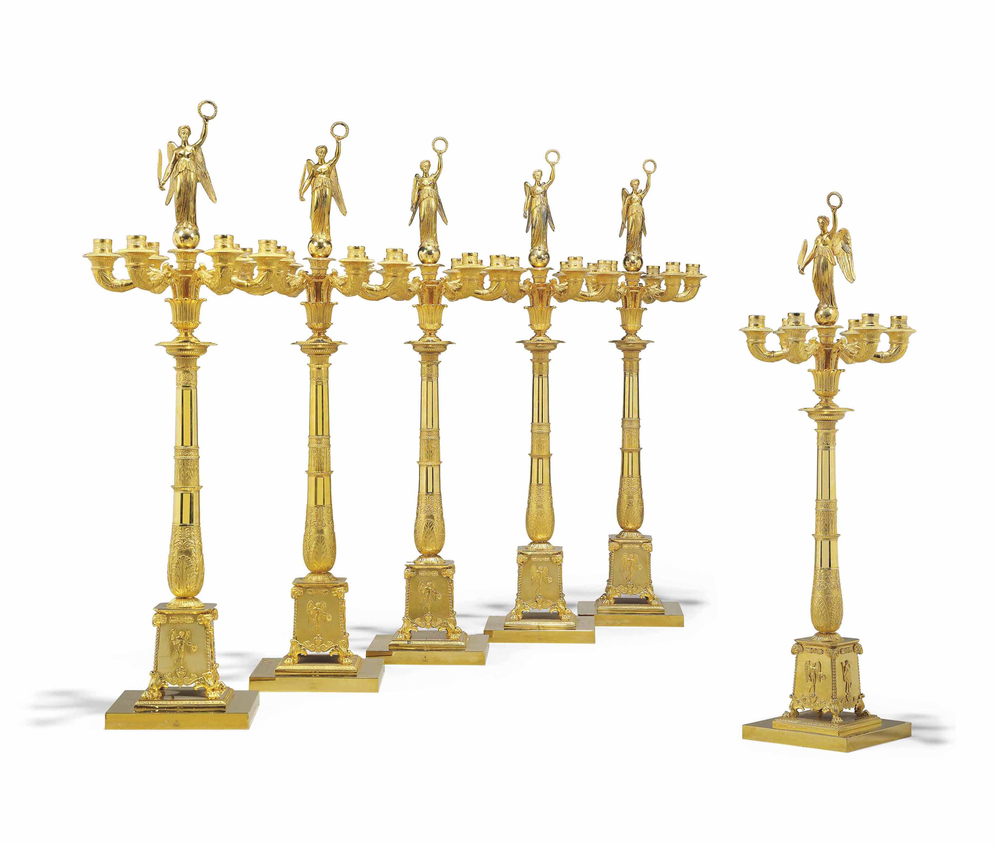 A SET OF SIX FRENCH ORMOLU SIX-LIGHT CANDELABRA