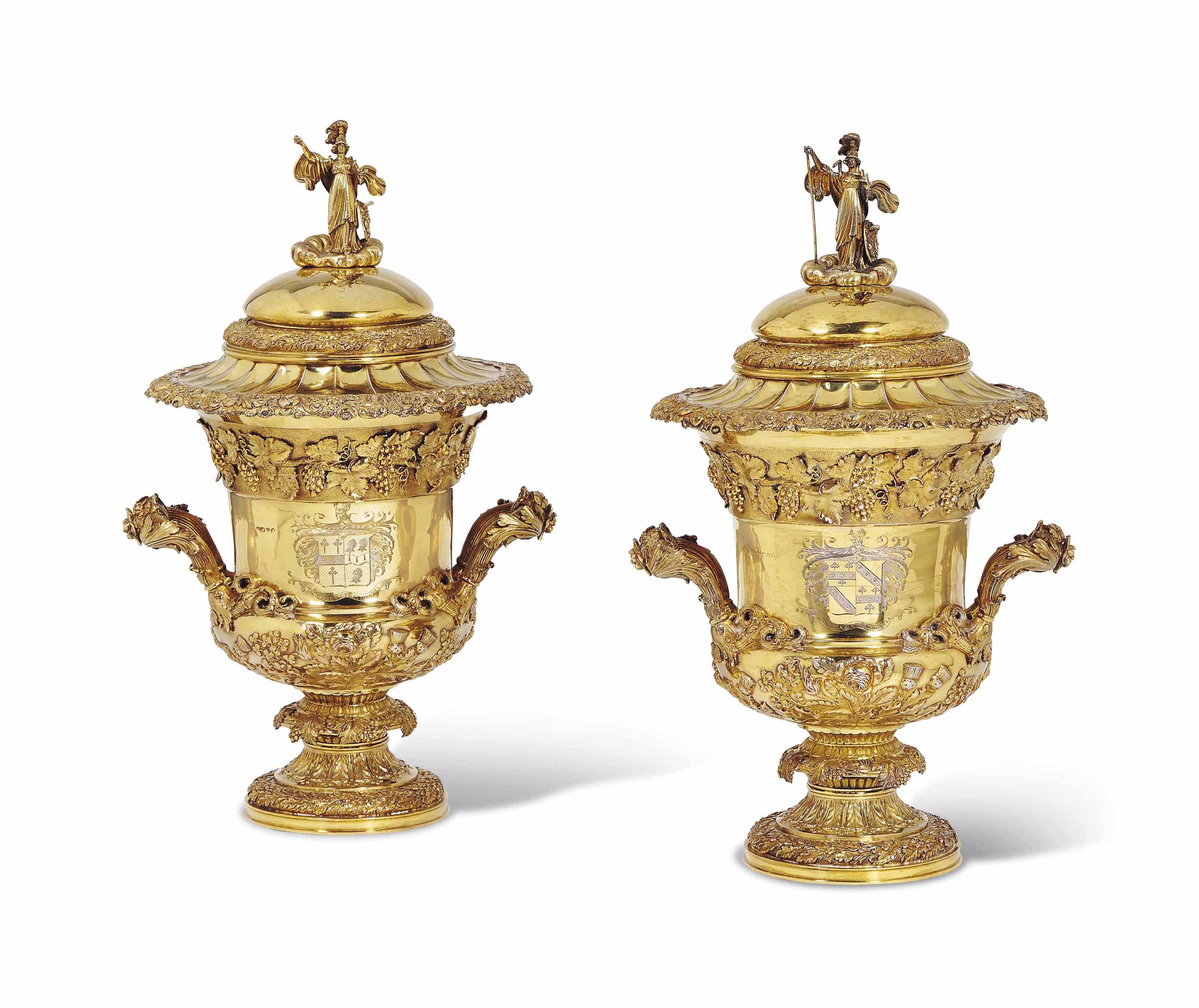 A PAIR OF GEORGE IV SILVER-GILT COMBINATION WINE-COOLERS AND CUPS AND COVERS WITH LINERS