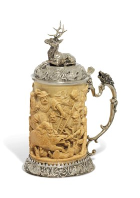 A CONTINENTAL SILVER-MOUNTED IVORY TANKARD