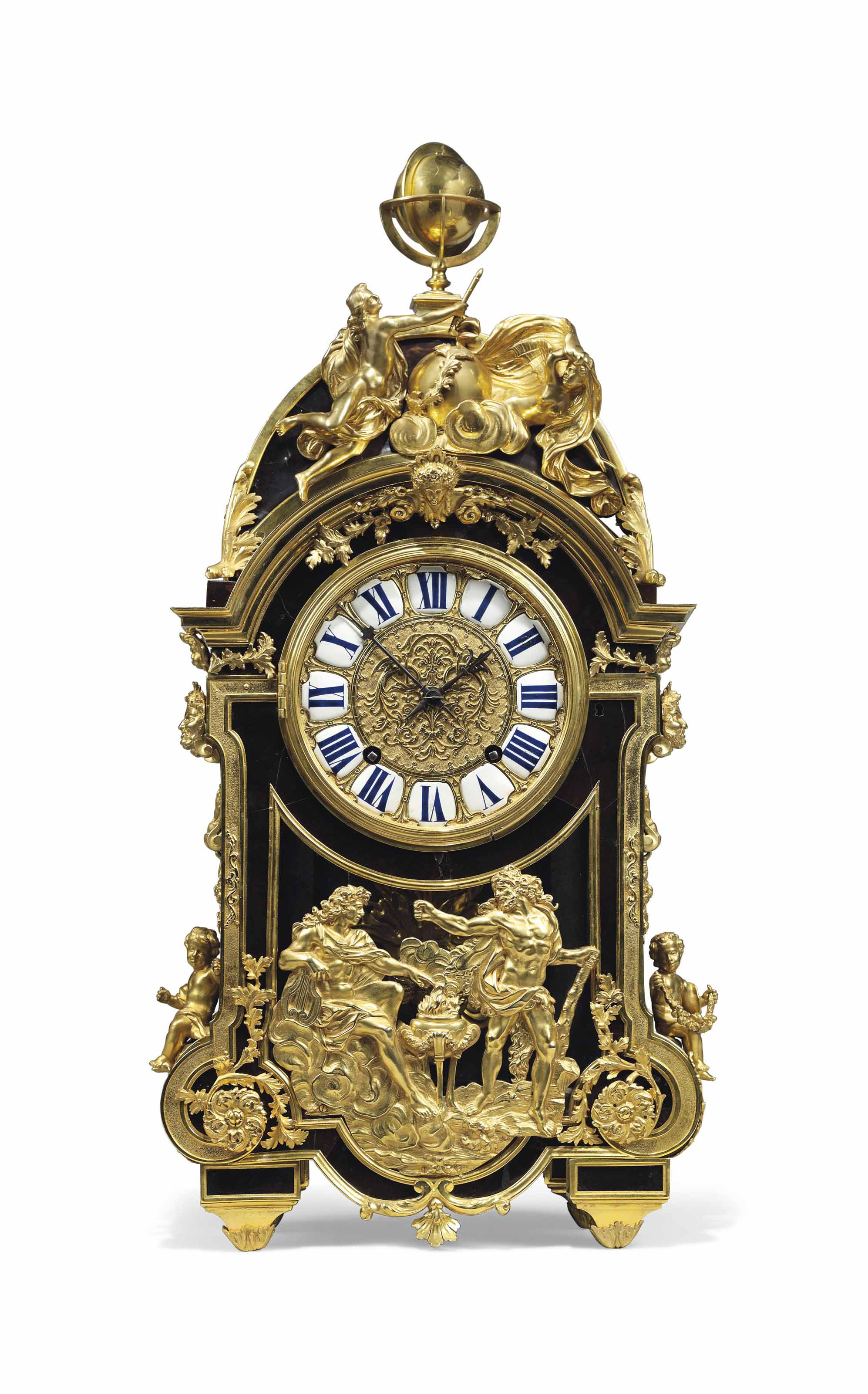 A FRENCH ORMOLU-MOUNTED AND HORN AND TORTOISESHELL-INLAID EBONY 'BOULLE' MARQUETRY STRIKING MANTEL CLOCK