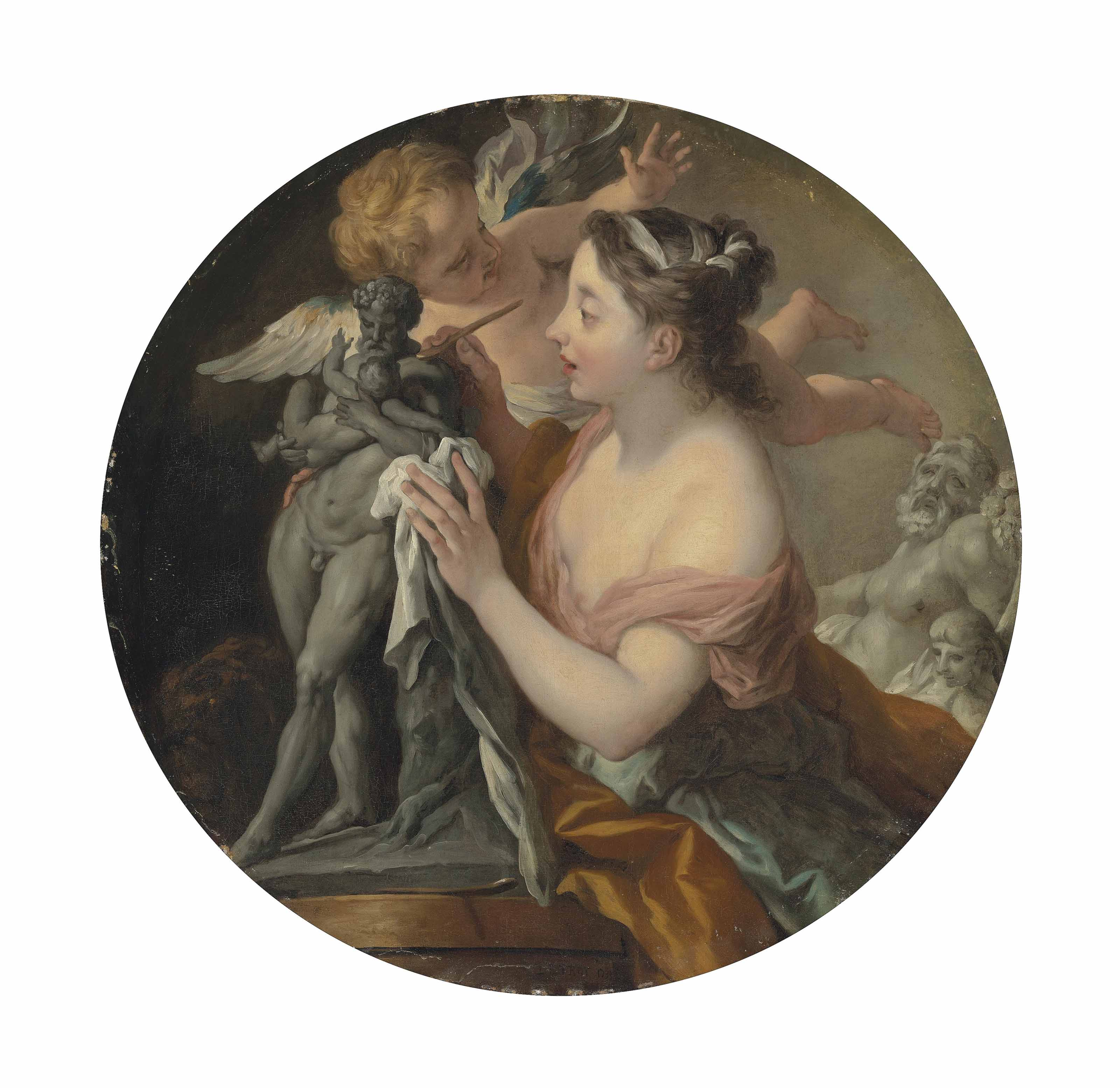 Allegory of Sculpture, with a model of Silenus with the infant Dionysus