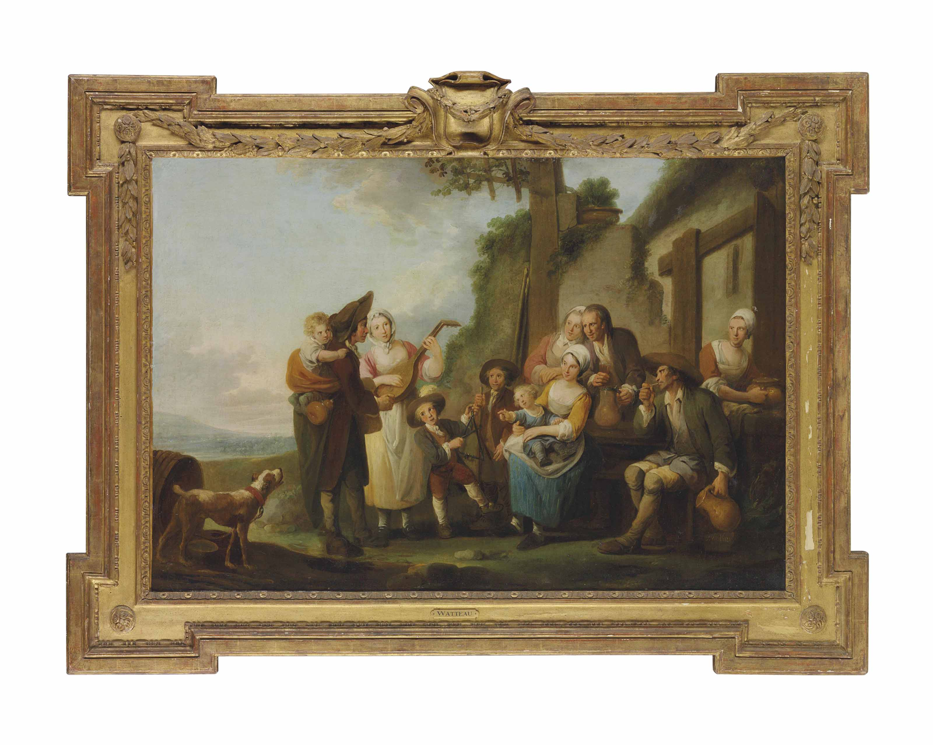 Peasants merry-making outside an inn in a landscape