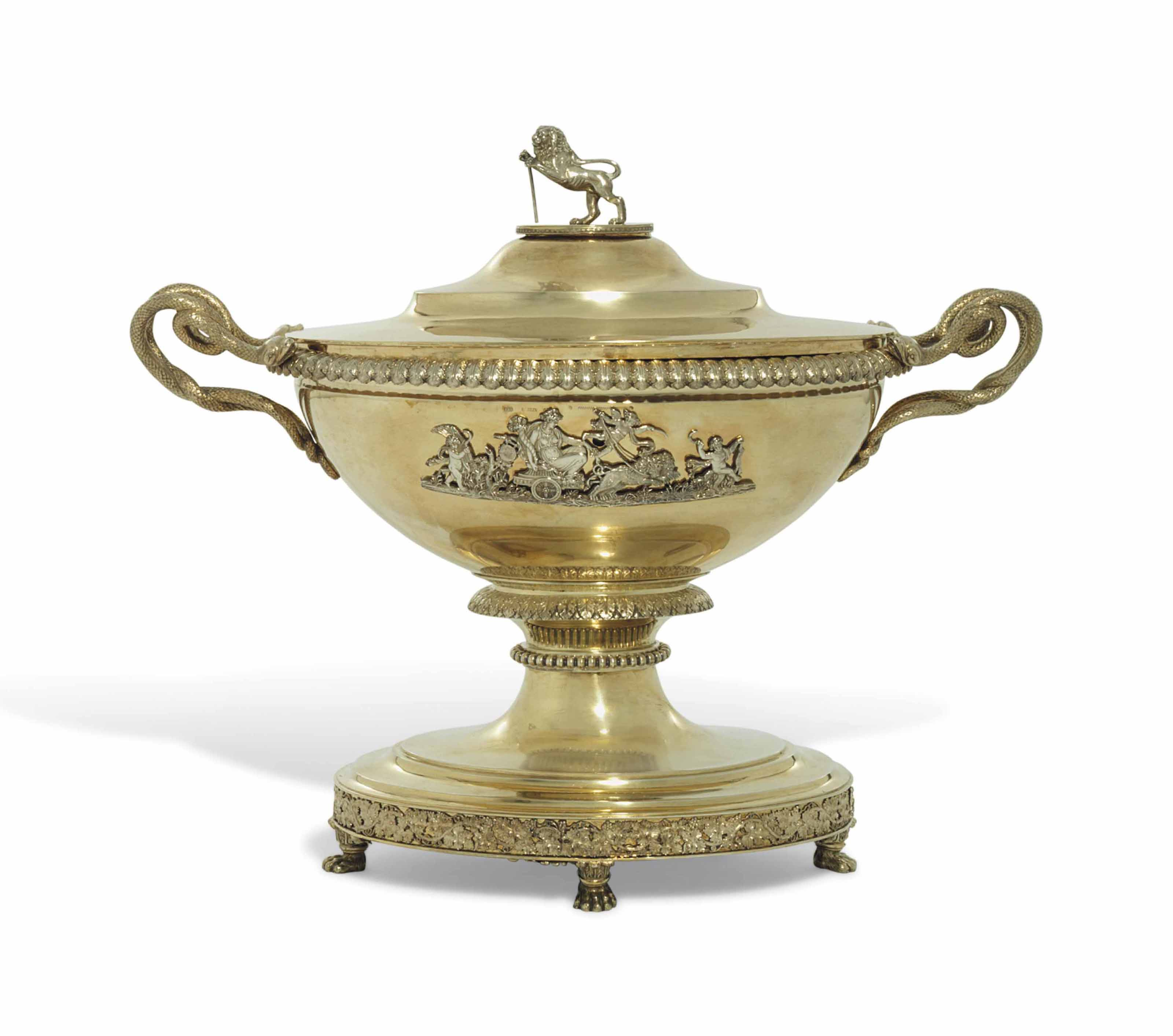 A GERMAN SILVER-GILT SOUP-TUREEN, COVER AND LINER