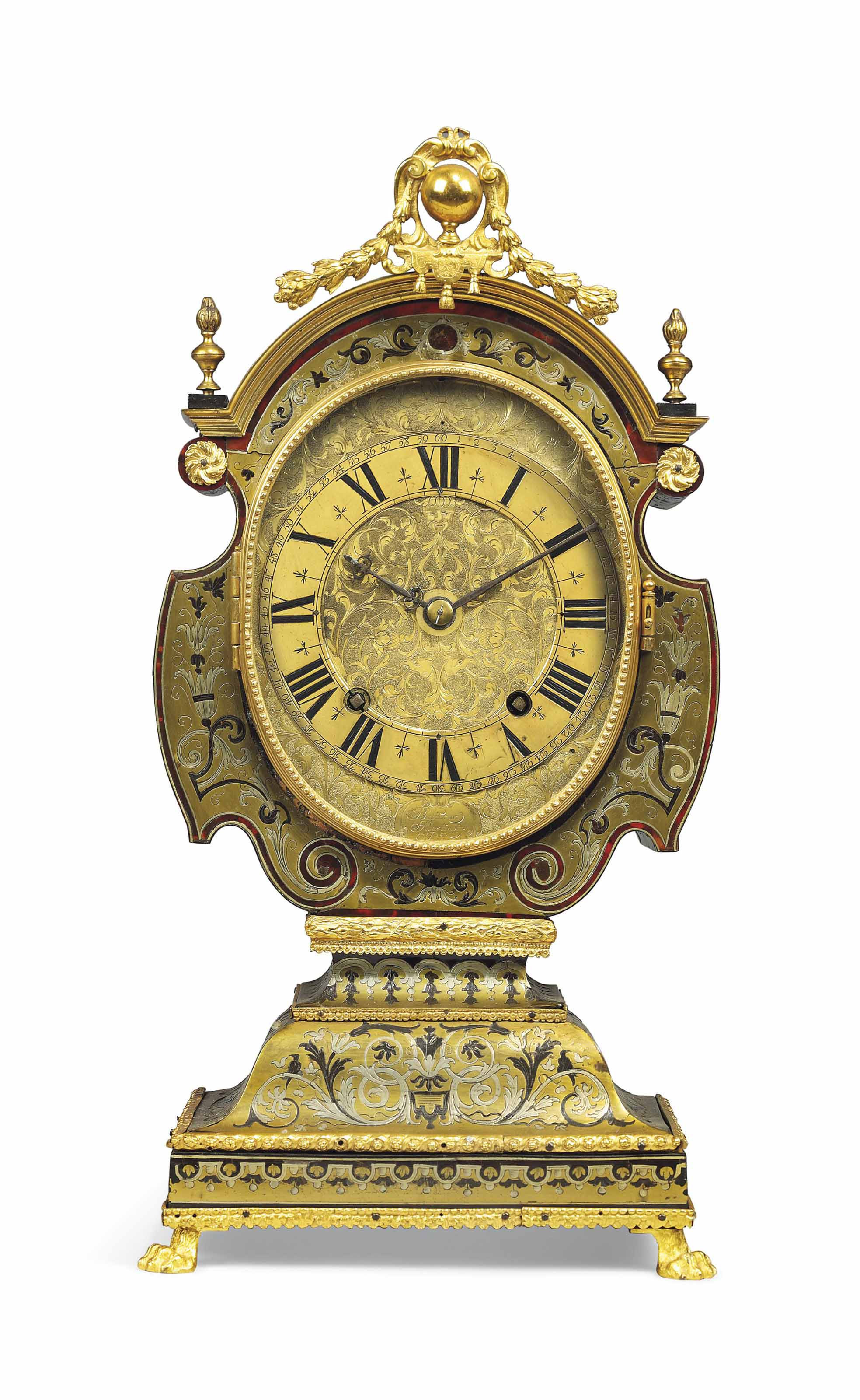 A LOUIS XIV TORTOISESHELL, BRASS AND PEWTER-INLAID STRIKING 'TETE DE POUPEE' CLOCK