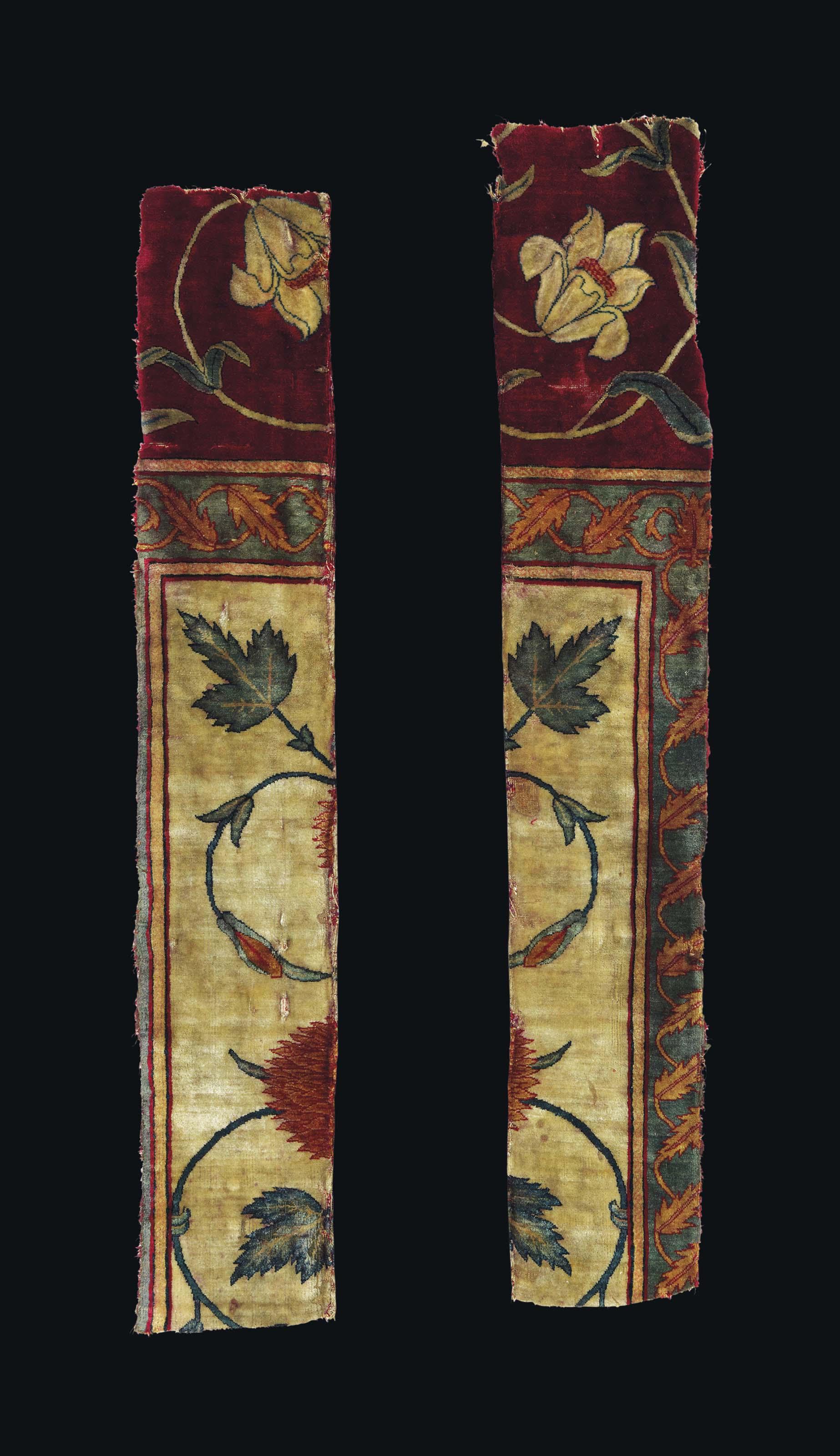 A Rare Mughal Pashmina Carpet Fragment North India