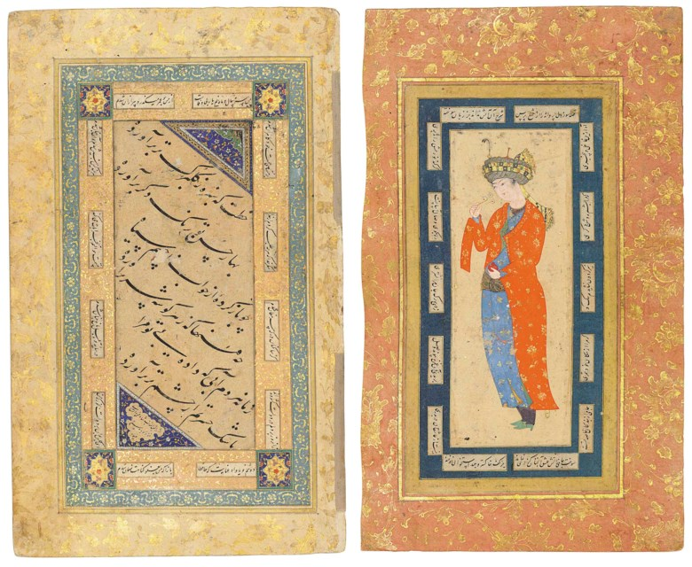 Nasta'liq calligraphy and a Safavid prince smelling a flower, the calligraphy signed Shah Mahmud Nishapuri, Safavid Iran, 16th century; the painting Safavid Iran, late 16thearly 17th century. Painting 6⅝ x 2½ in (16.8 x 6.5 cm); calligraphy 6¾ x 2⅞ in (17.2 x 7.2 cm); folio 11⅜ x 6⅞ in (29 x 17.6 cm). This lot was offered in Art of the Islamic and Indian Worlds Including