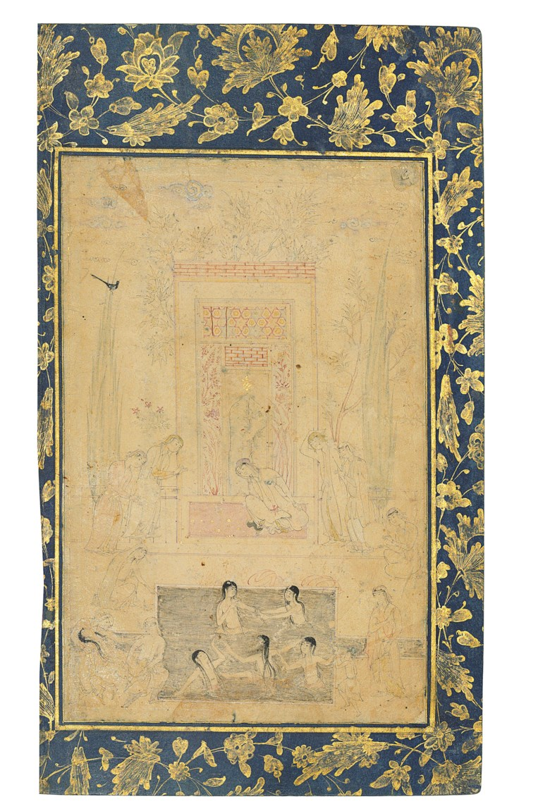 A Nasta'liq quatrain and hammam scene, the calligraphy signed Muhammad Mohsin al-Katib al-Harawi, Iran, 16th century; the painting in the style of Muhammadi, Safavid Herat, circa 1590. Painting 8¼ x 5⅜ in (21.2 x 13.6 cm); calligraphy 5¼ x 2⅝ in (13.2 x 6.7 cm); folio 11⅜ x 6⅞ in (29 x 17.6 cm). This lot was offered in Art of the Islamic and Indian Worlds Including Oriental
