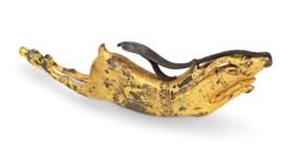A GILT-STEEL POWDER HORN
