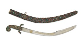 AN OTTOMAN CORAL-INSET GILT-COPPER MOUNTED SWORD (KILIJ) AND SCABBARD