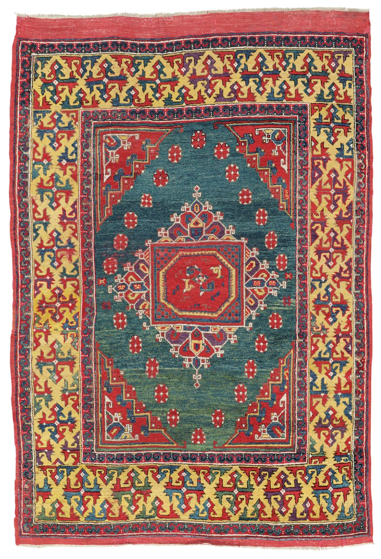 A west Anatolian Ghirlandaio rug, Late 17th century. 6 ft 11 in x 4 ft 8 in (210 cm x 141 cm) including the kilim. This lot was offered in Art of the Islamic and Indian Worlds Including Oriental Rugs and Carpets on 26 October 2017  at Christie's in London and sold for £50,000