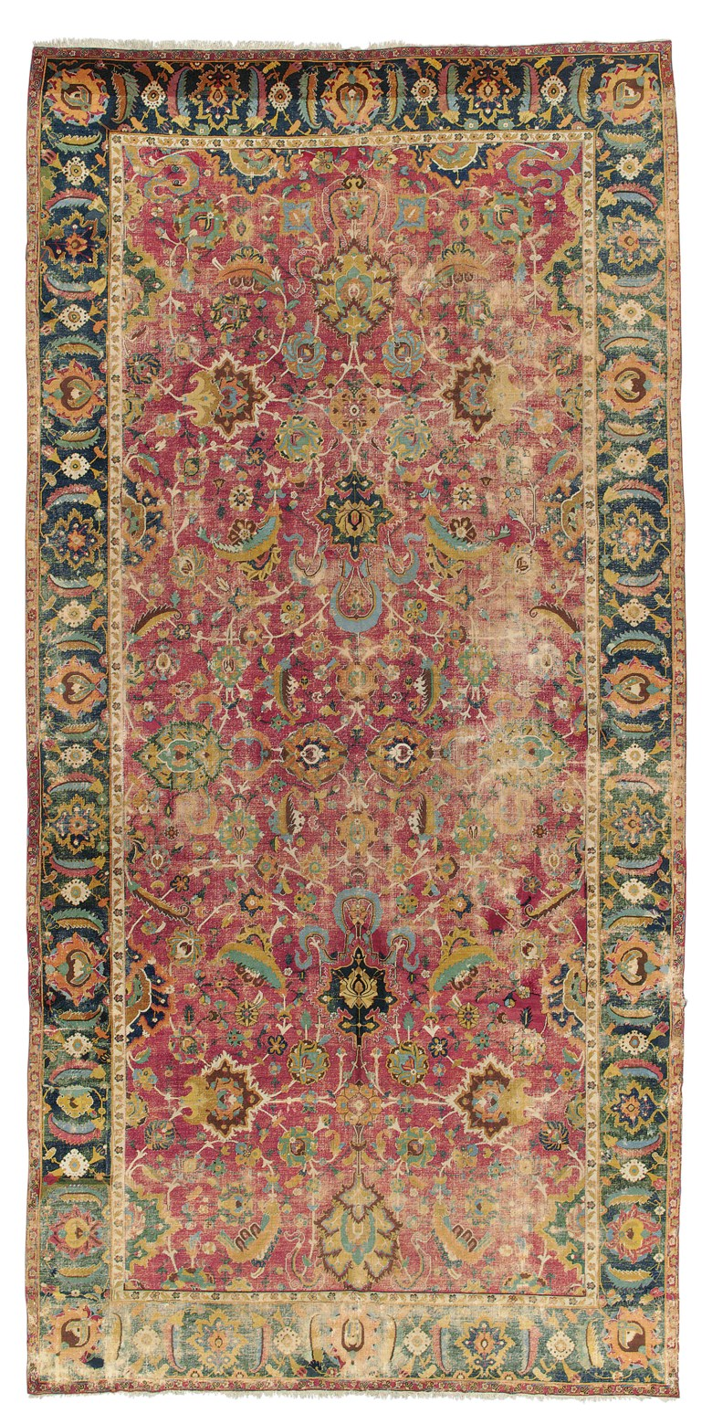 An Isfahan gallery carpet, central Persia, first half 17th century. 17 ft 3 in x 8 ft 4 in (525 cm x 253 cm). This lot was offered in Art of the Islamic and Indian Worlds Including Oriental Rugs and Carpets on 26 October 2017  at Christie's in London and sold for £35,000