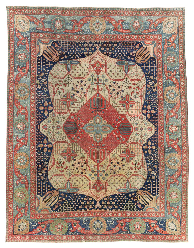 A Kashan Mohtasham carpet, central Persia, second half 19th century. 12 ft 3 in x 9 ft 4 in (374 cm x 285 cm). This lot was offered in Art of the Islamic and Indian Worlds Including Oriental Rugs and Carpets on 26 October 2017  at Christie's in London and sold for £17,500