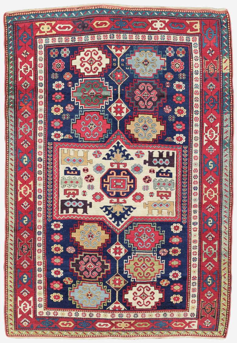 A Kazak rug, south Caucasus, second half 19th century. 7 ft 11 in x 5 ft 5 in (242 cm x 166 cm). This lot was offered in Art of the Islamic and Indian Worlds Including Oriental Rugs and Carpets on 26 October 2017  at Christie's in London and sold for £50,000