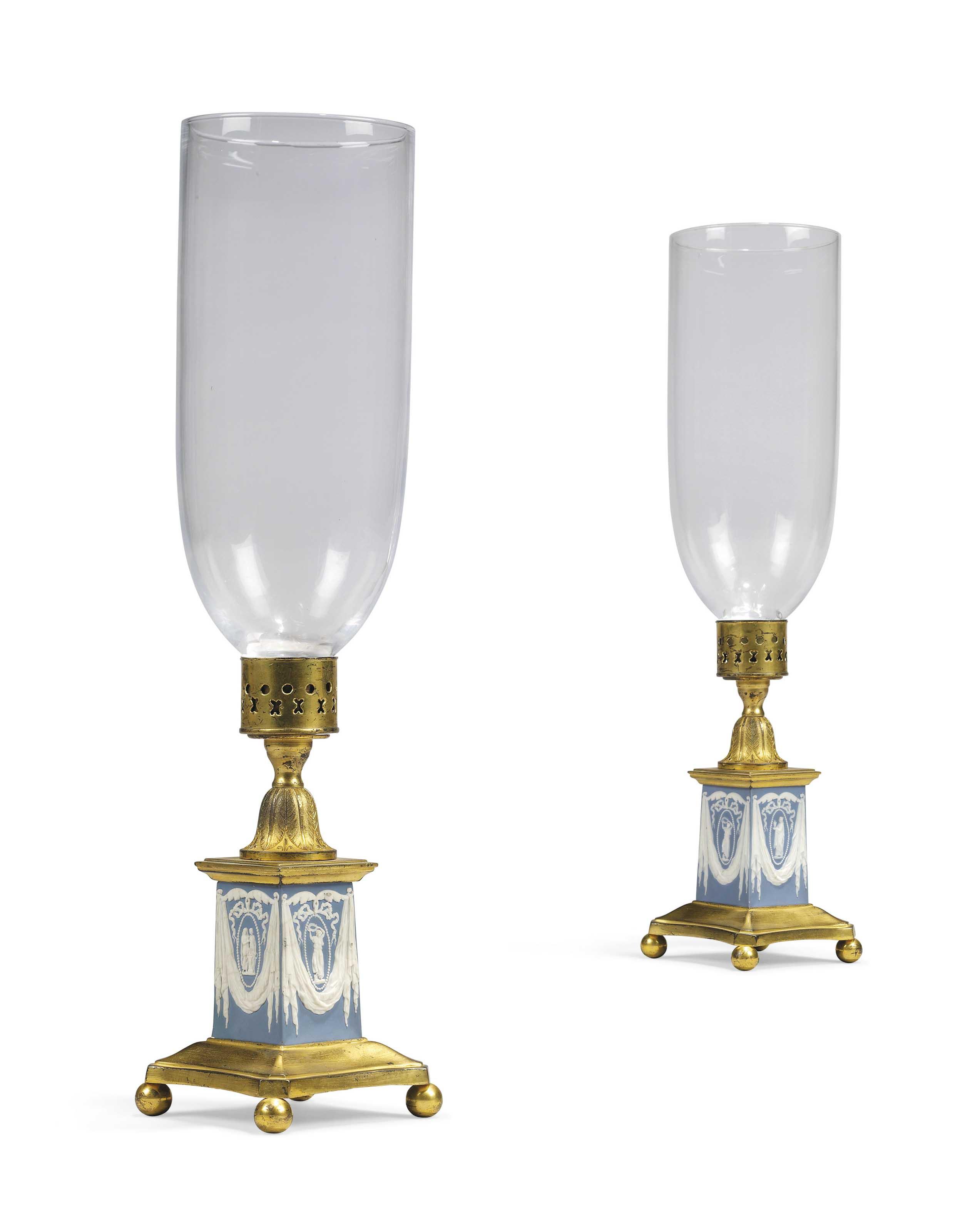 A PAIR OF GEORGE III GILT-METAL-MOUNTED JASPERWARE CANDLESTICKS