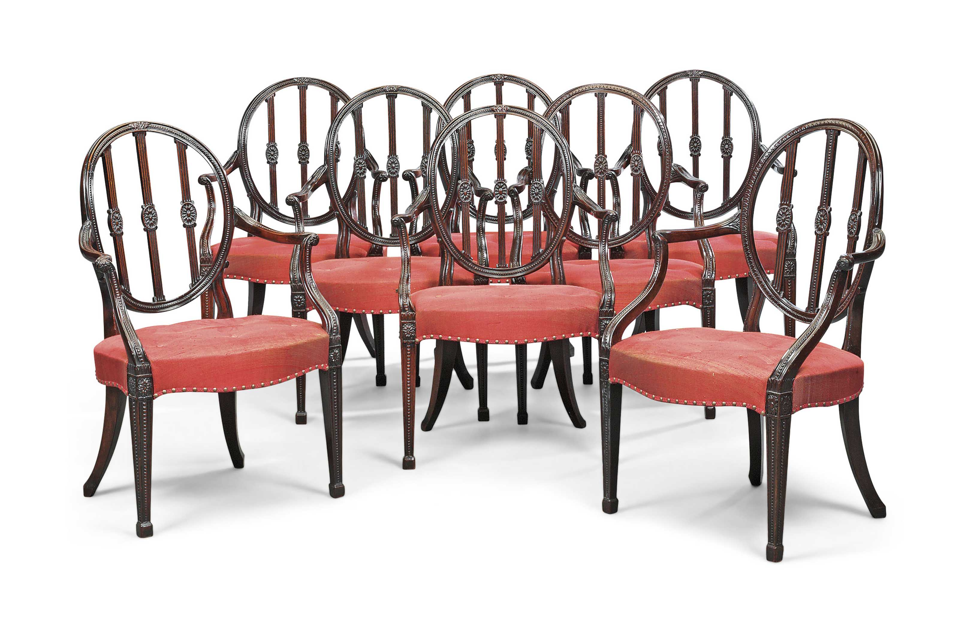 THE MOLLER DINING CHAIRS A SET OF EIGHT GEORGE III MAHOGANY OPEN ARMCHAIRS