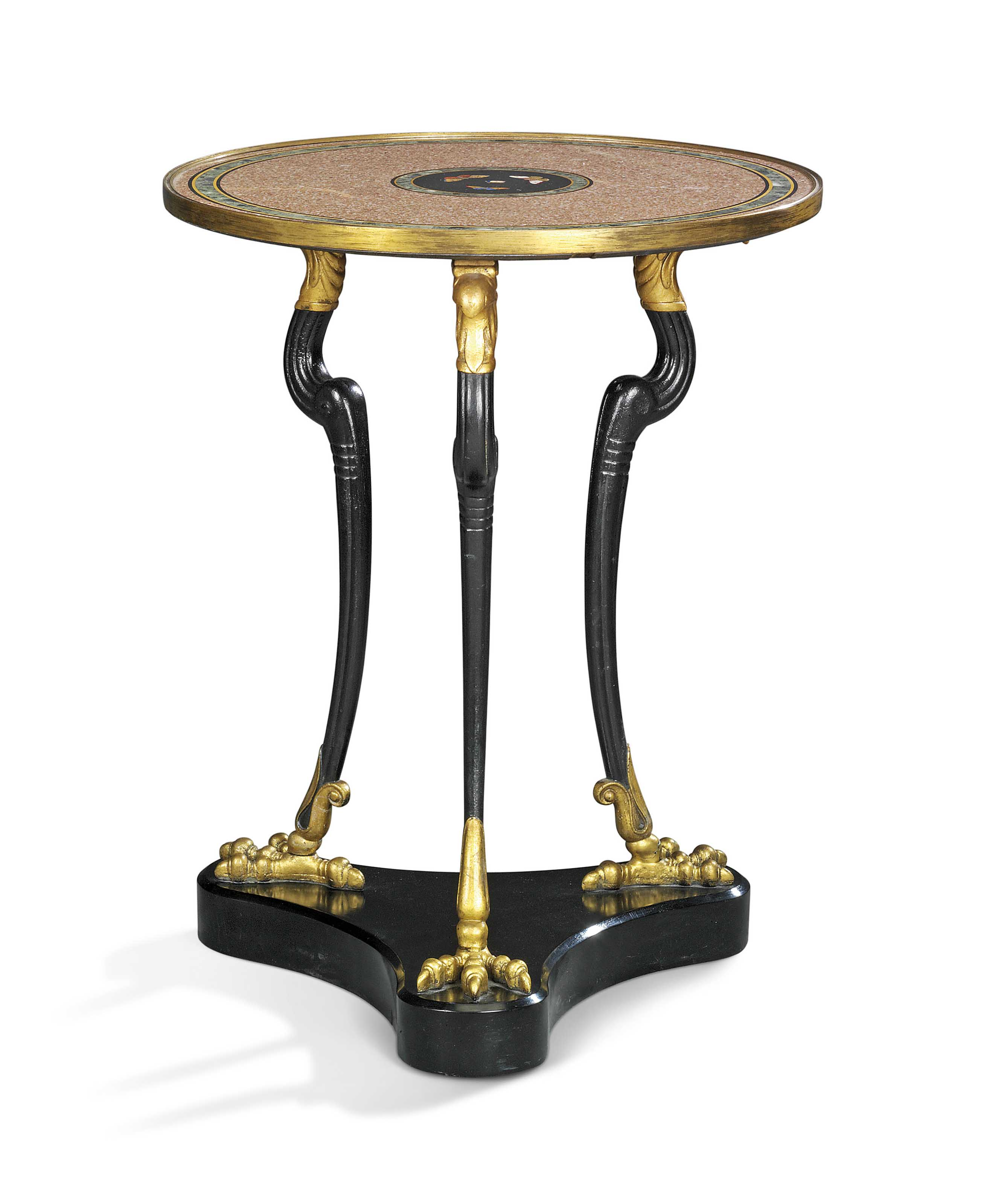 A REGENCY BRASS-MOUNTED MARBLE, BLACK-PAINTED AND GILT CAST-IRON GUERIDON