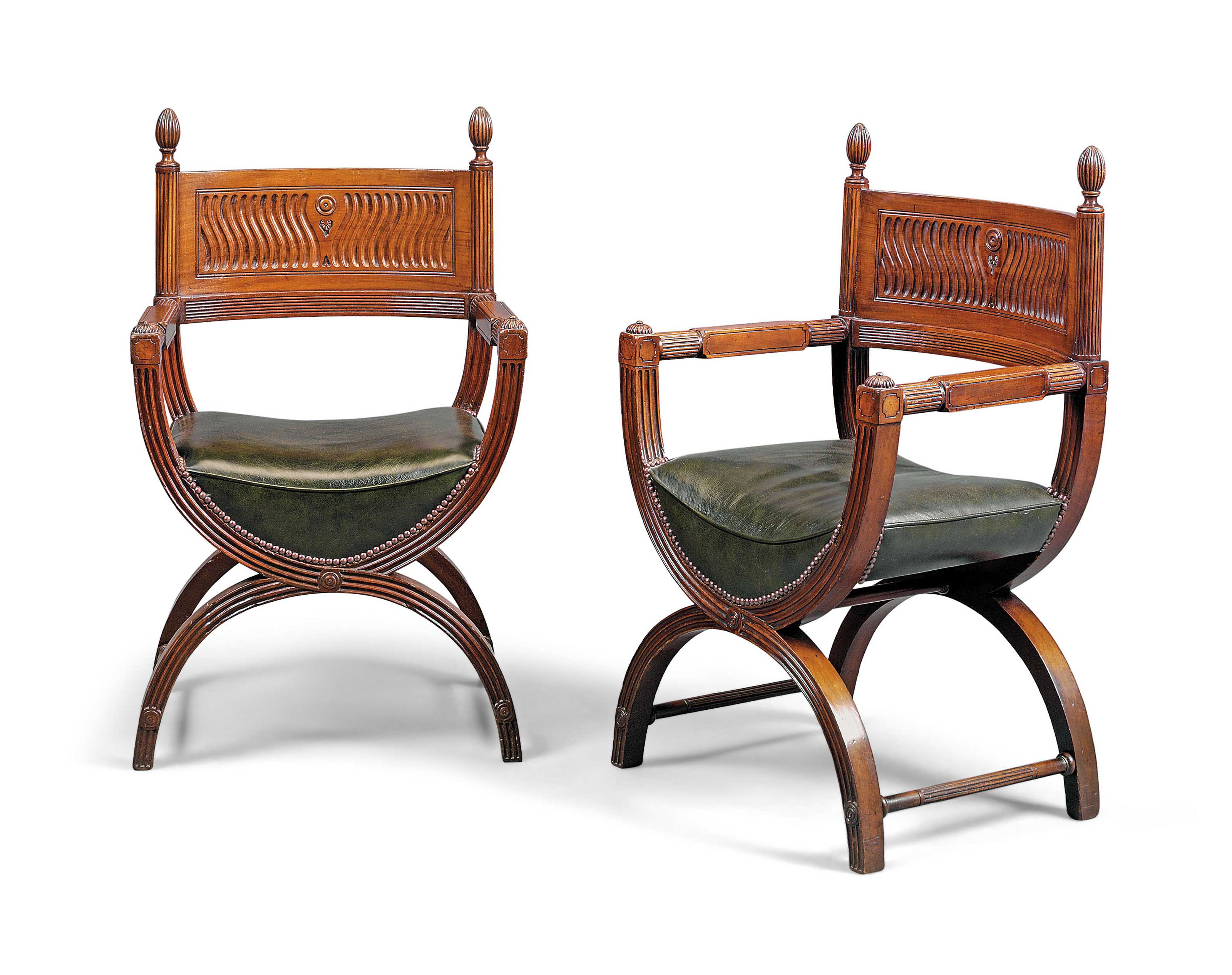 A MATCHED PAIR OF VICTORIAN MAHOGANY 'CURULE' ARMCHAIRS