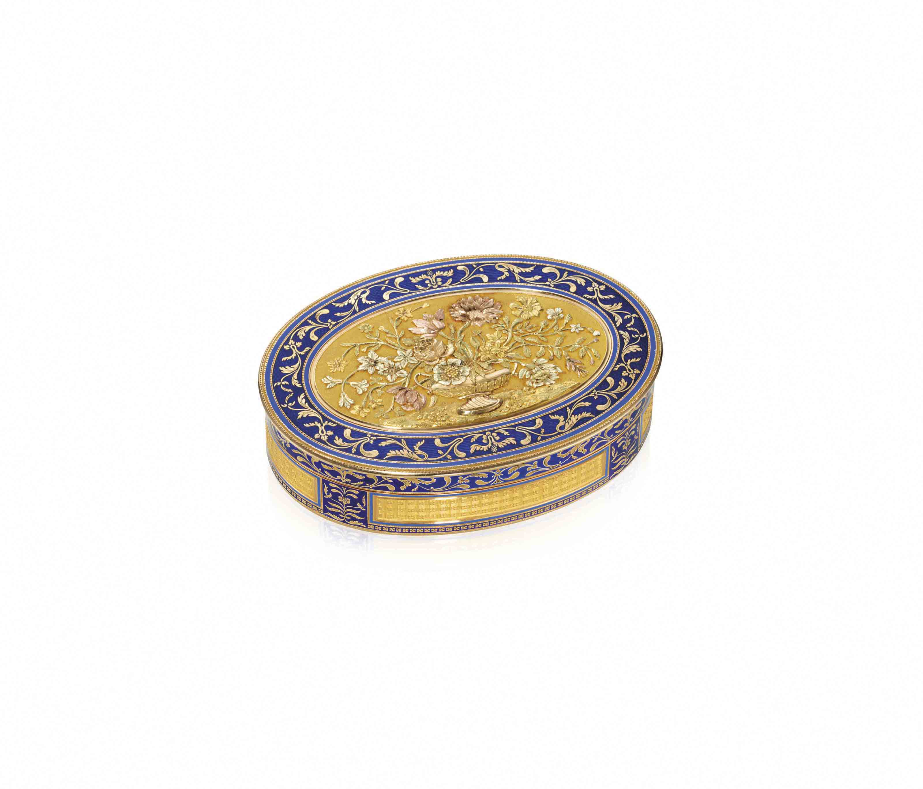 A FRENCH PARCEL-ENAMELLED VARI-COLOUR GOLD SNUFF-BOX