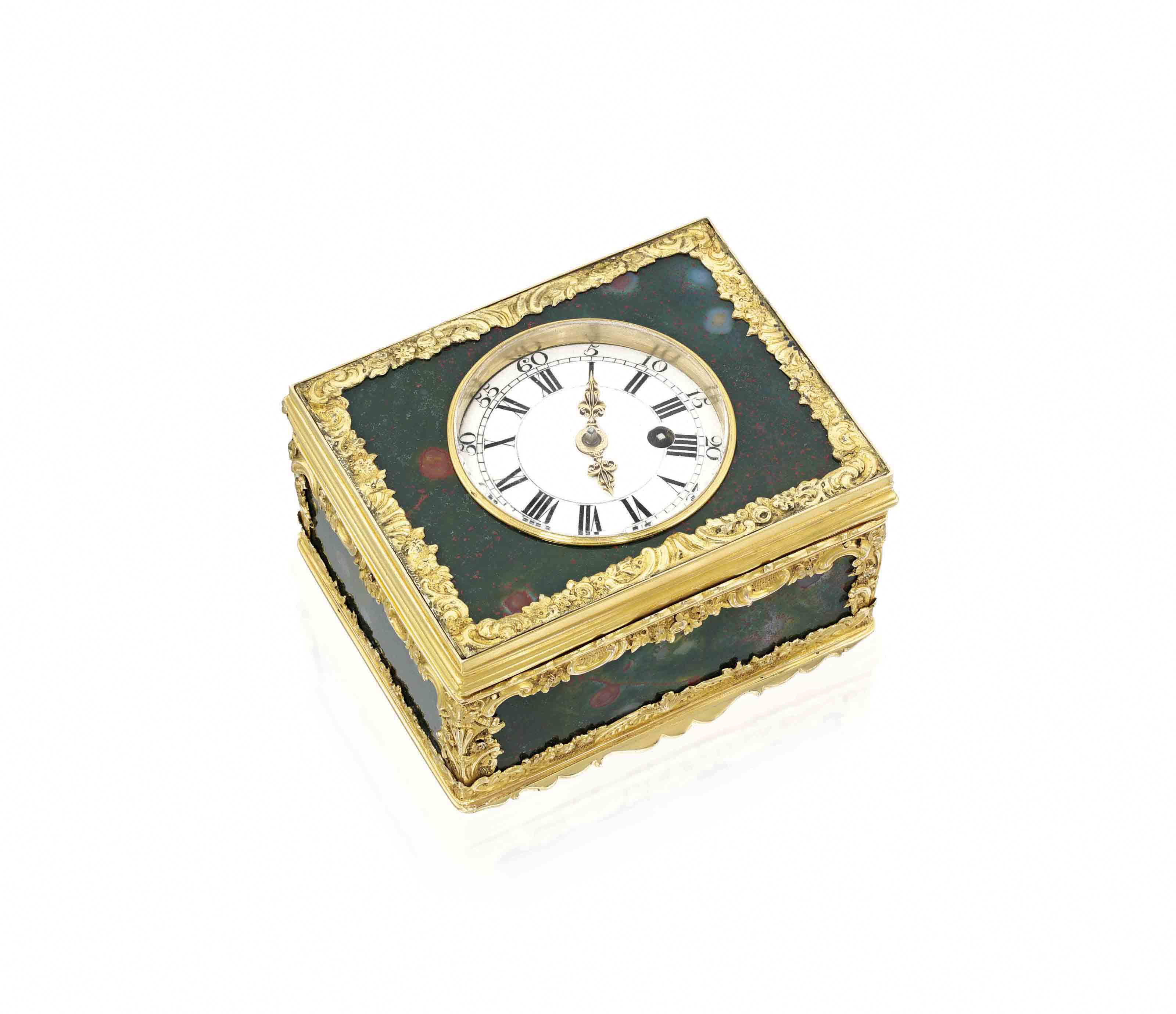 A GEORGE II GOLD-MOUNTED HARDSTONE SNUFF-BOX SET WITH A WATCH