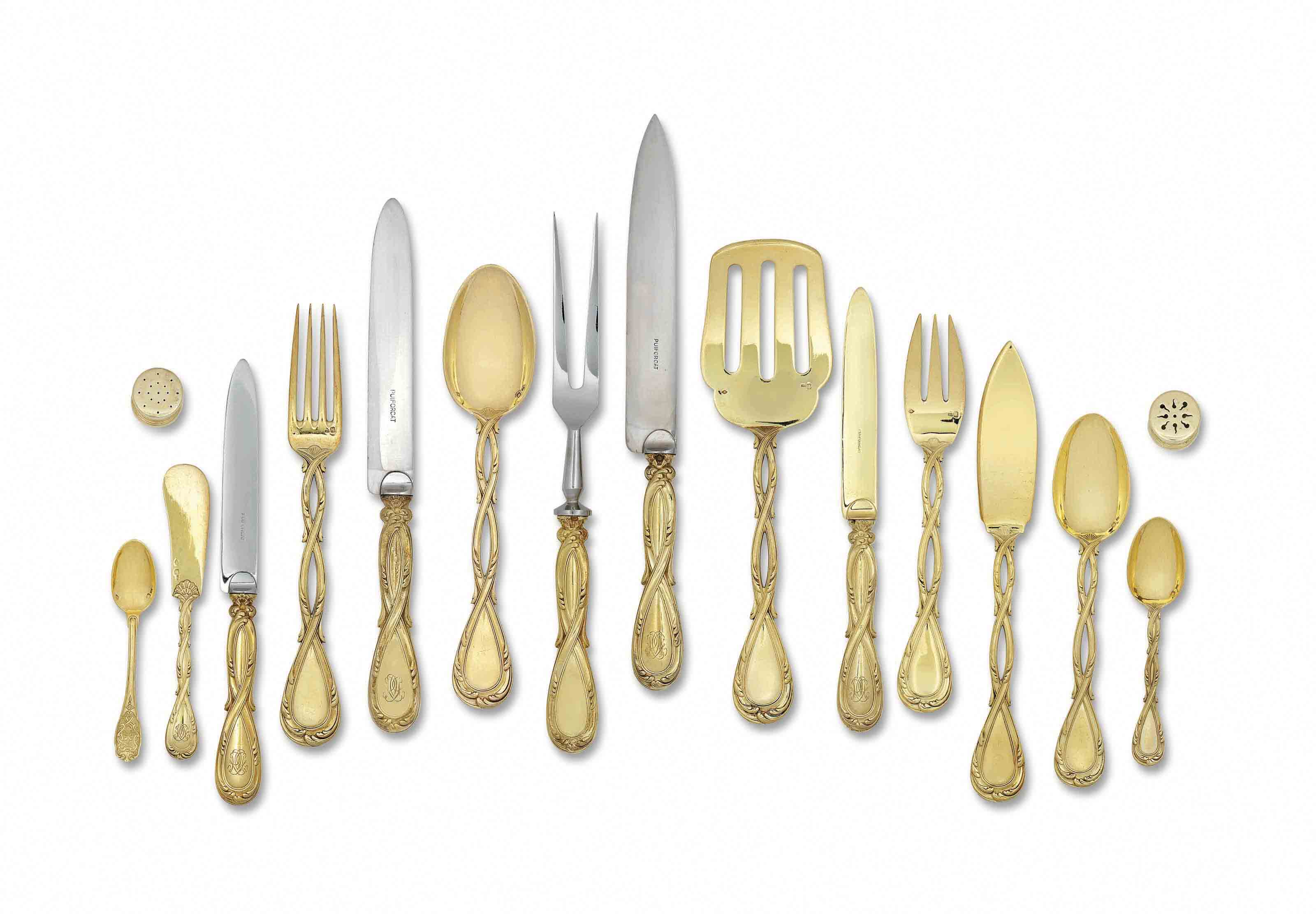 A FRENCH SILVER-GILT TABLE-SERVICE