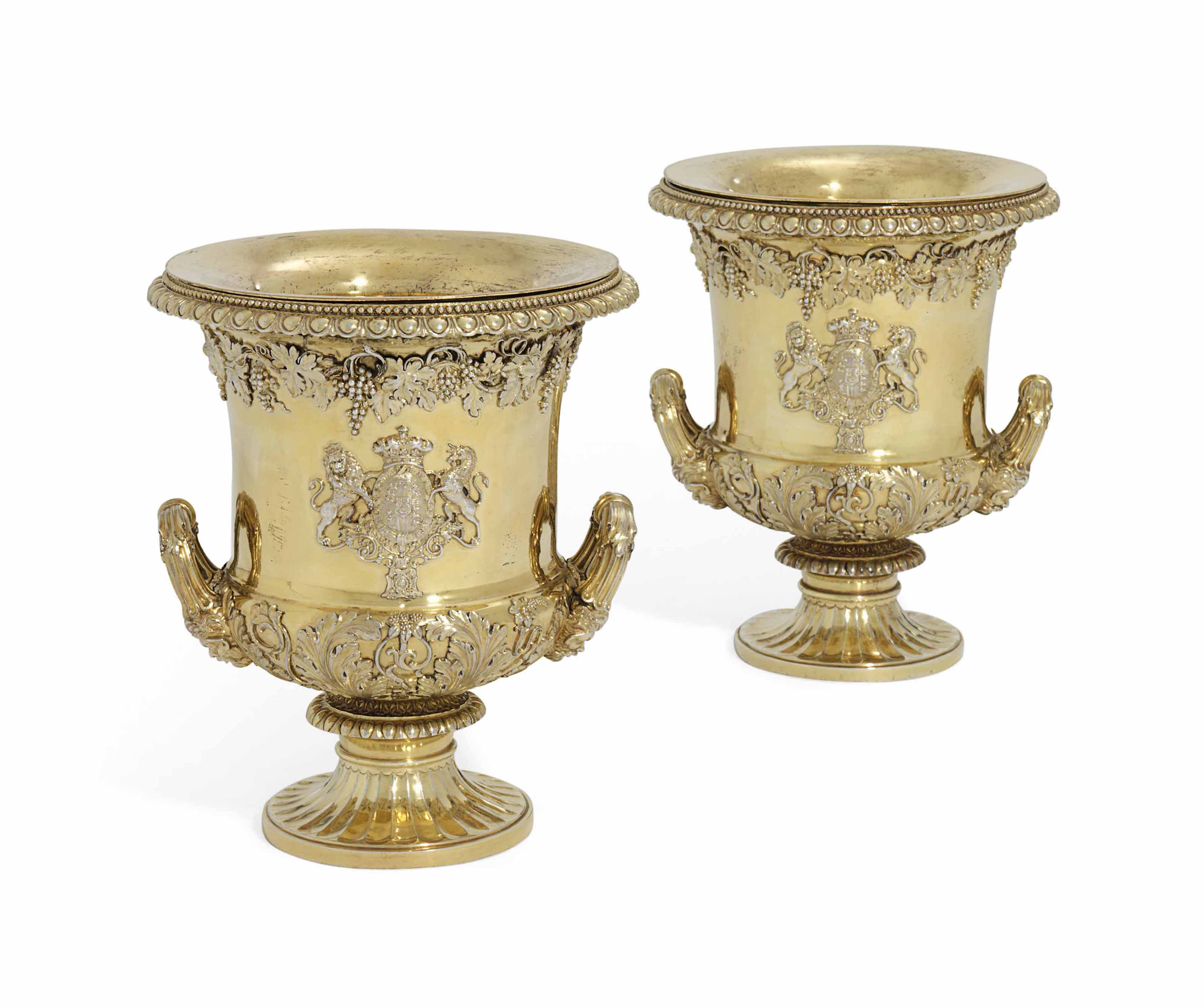 A PAIR OF GEORGE III SILVER-GILT WINE-COOLERS