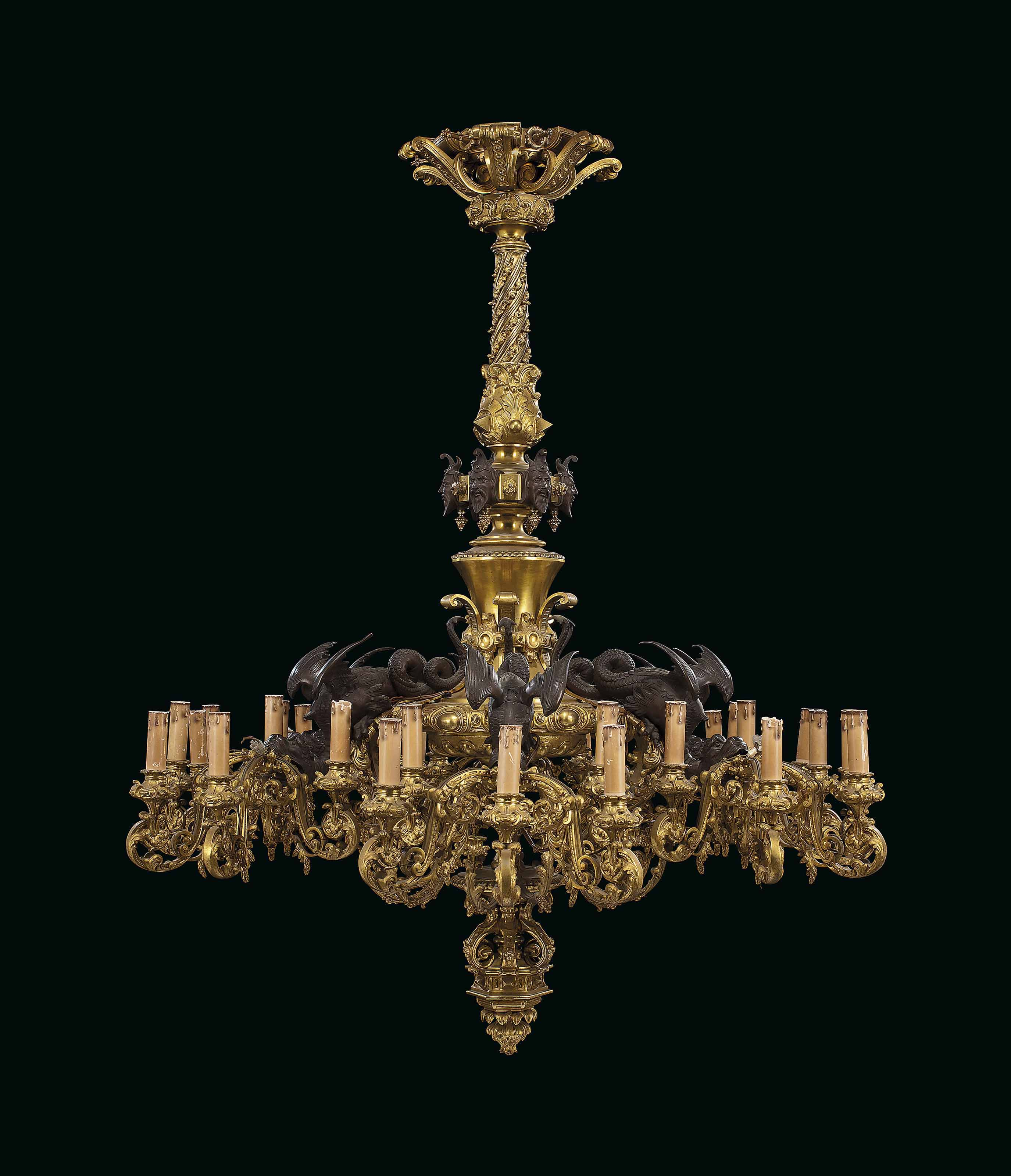 AN ORMOLU AND PATINATED-BRONZE THIRTY-LIGHT CHANDELIER | POSSIBLY ...
