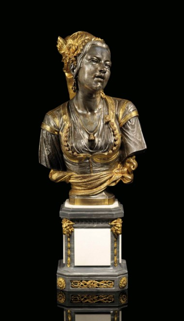 Charles-Henri-Joseph Cordier (French, 1827-1905), Mauresque dAlger chantant (A singing Algerian Moor), cast circa 1870-1900. The base 8½  in (22  cm) high; 7  in (18  cm) square. Estimate £10,000-15,000. This lot is offered in The Collector Silver,19th Century Furniture, Sculpture & Works of Art on 16 November 2017  at Christie's in London