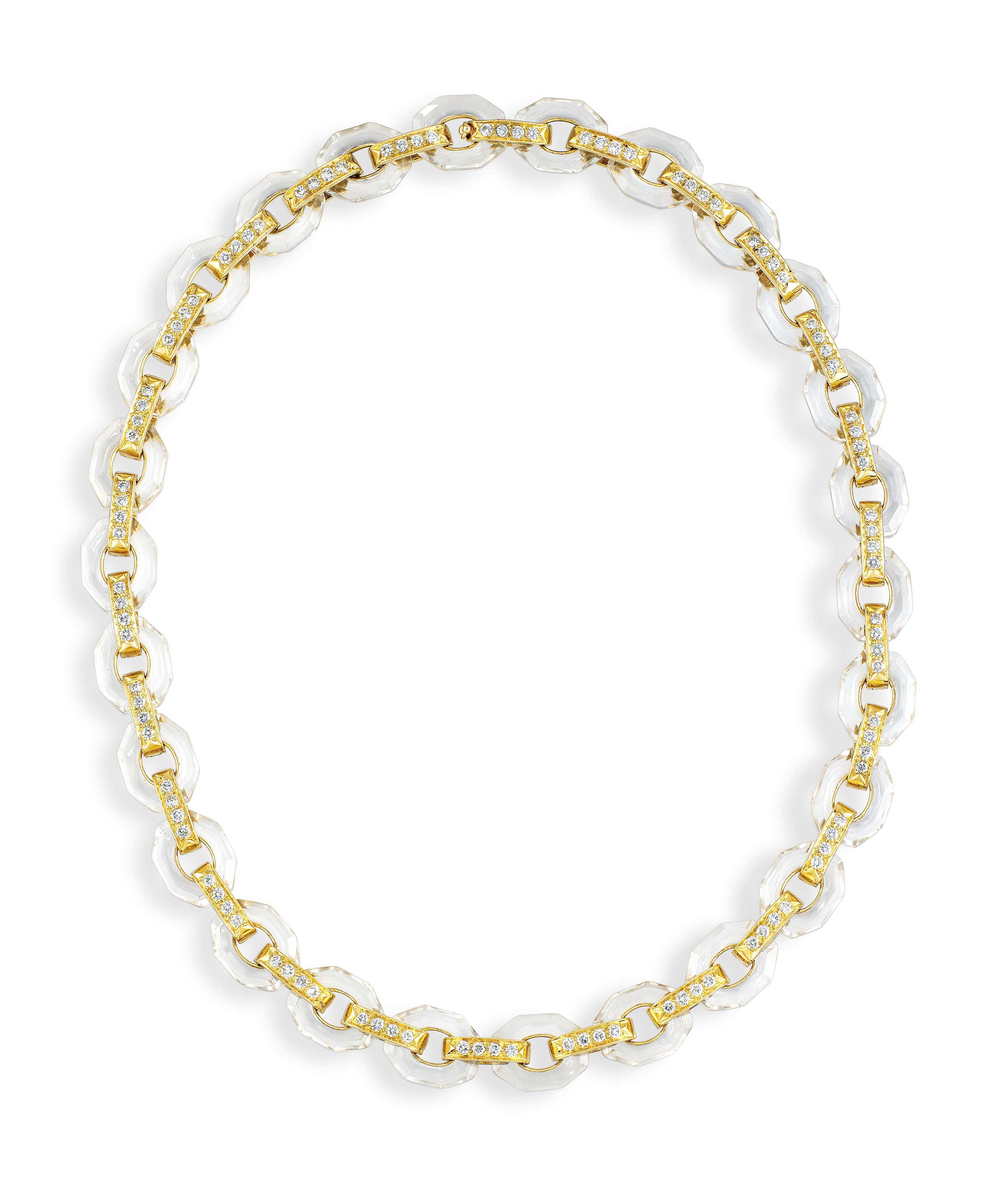 A ROCK CRYSTAL AND DIAMOND NECKLACE, BY POIRAY