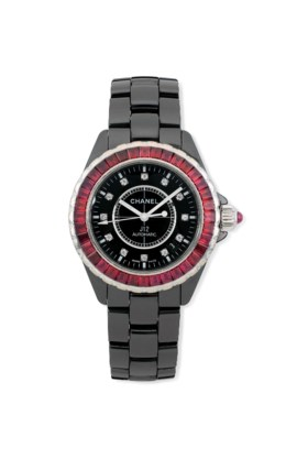 A CERAMIC, RUBY AND DIAMOND-SET AUTOMATIC 'J12' LIMITED EDITION WRISTWATCH, BY C