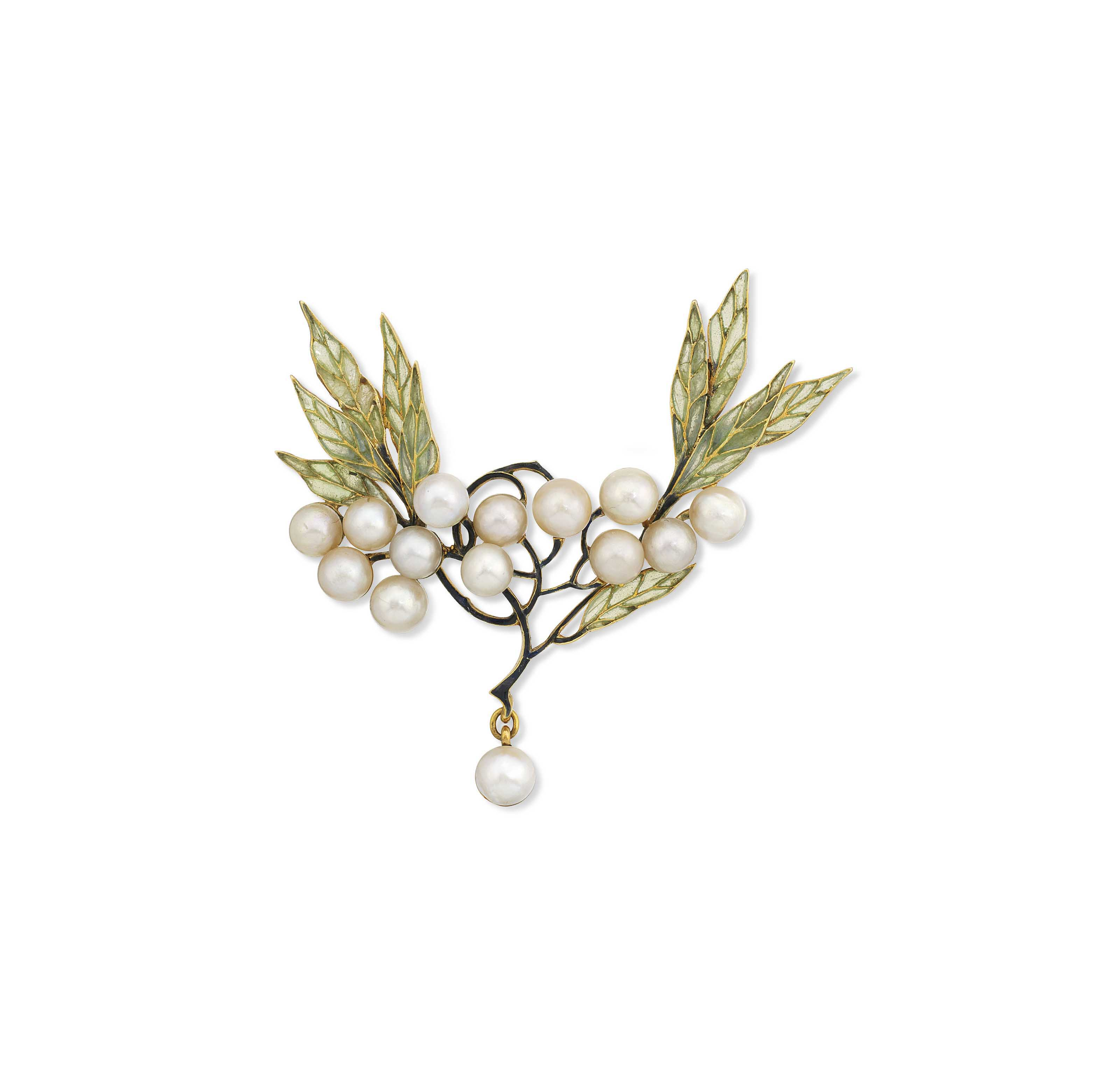 AN ART NOUVEAU PEARL AND ENAME
