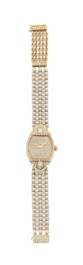 A DIAMOND AND CULTURED PEARL 'TORTURE' WRISTWATCH, BY CARTIER