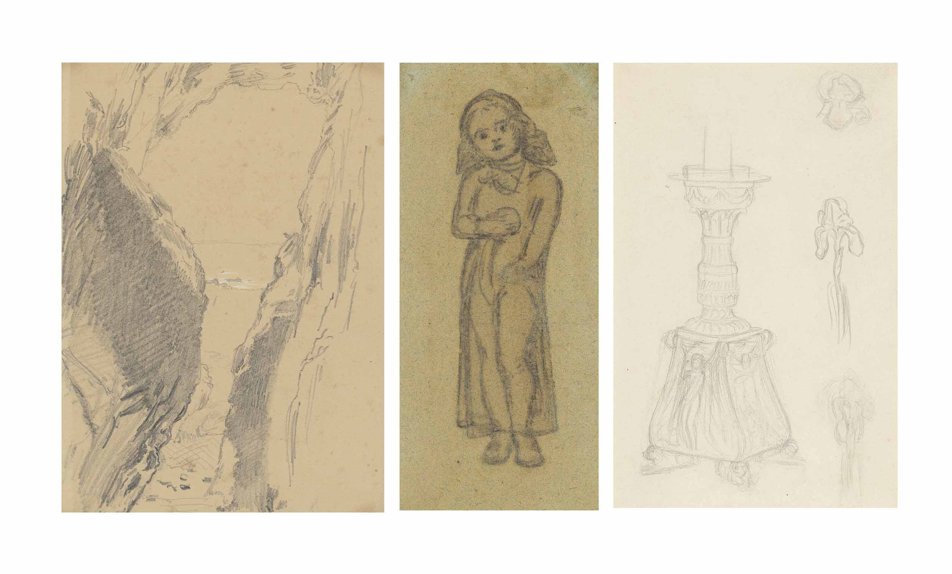 View from a cave opening to the sea; Study for 'Miss Flamborough' (Gladys Holman Hunt holding an orange); and Study of a candelabra for 'The Lady of Shallot';
