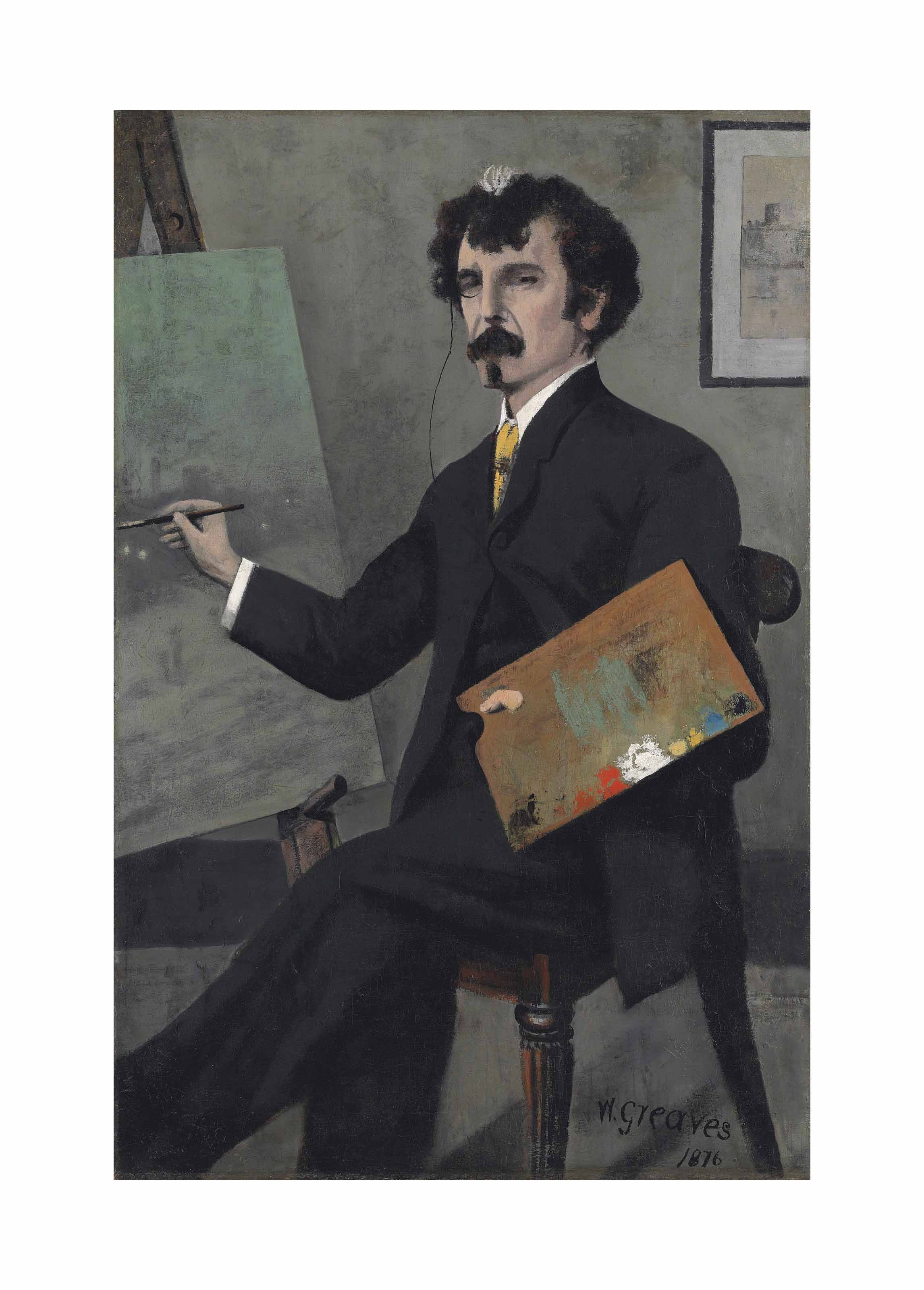 Portrait of James McNeill Whistler (1834-1903), seated at an easel