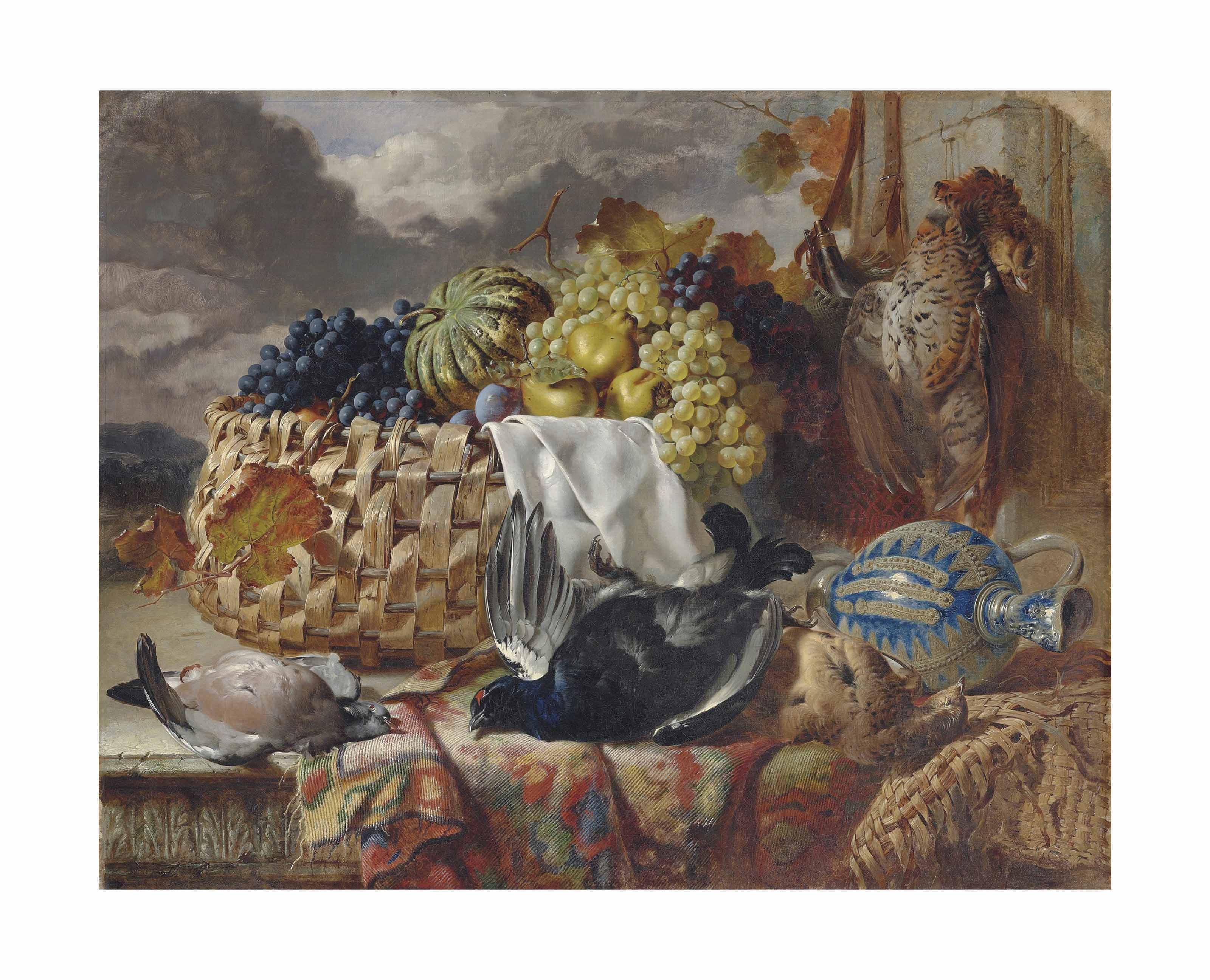 A black grouse, a greyhen, a wood pigeon and a pheasant beside grapes, pears and a melon in a wicker basket, on a partially draped ledge