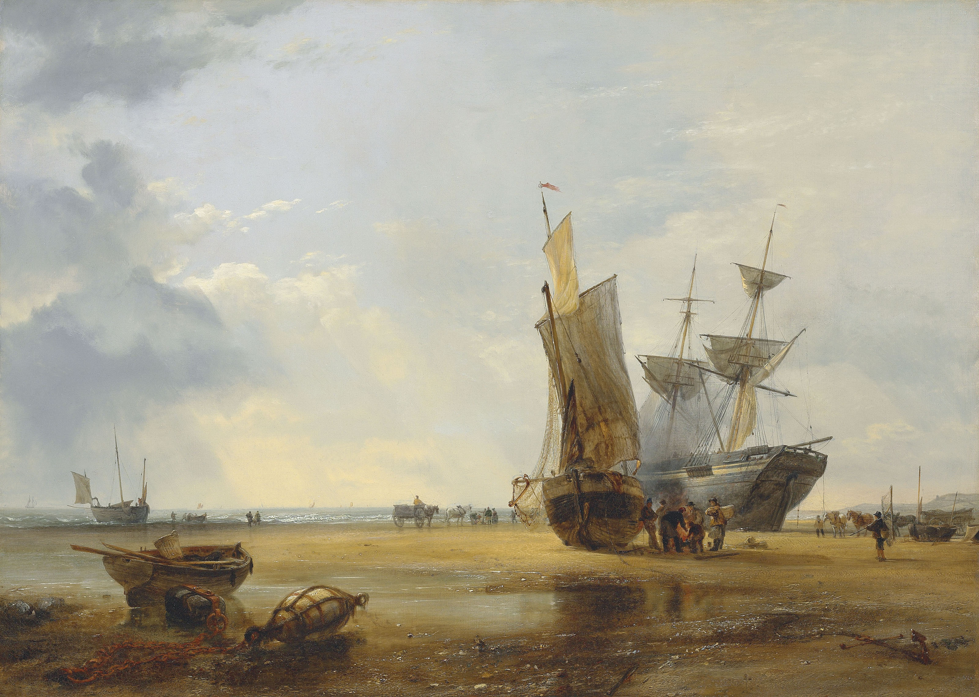 Brig on Sands: Vessels on the Sands at Hastings