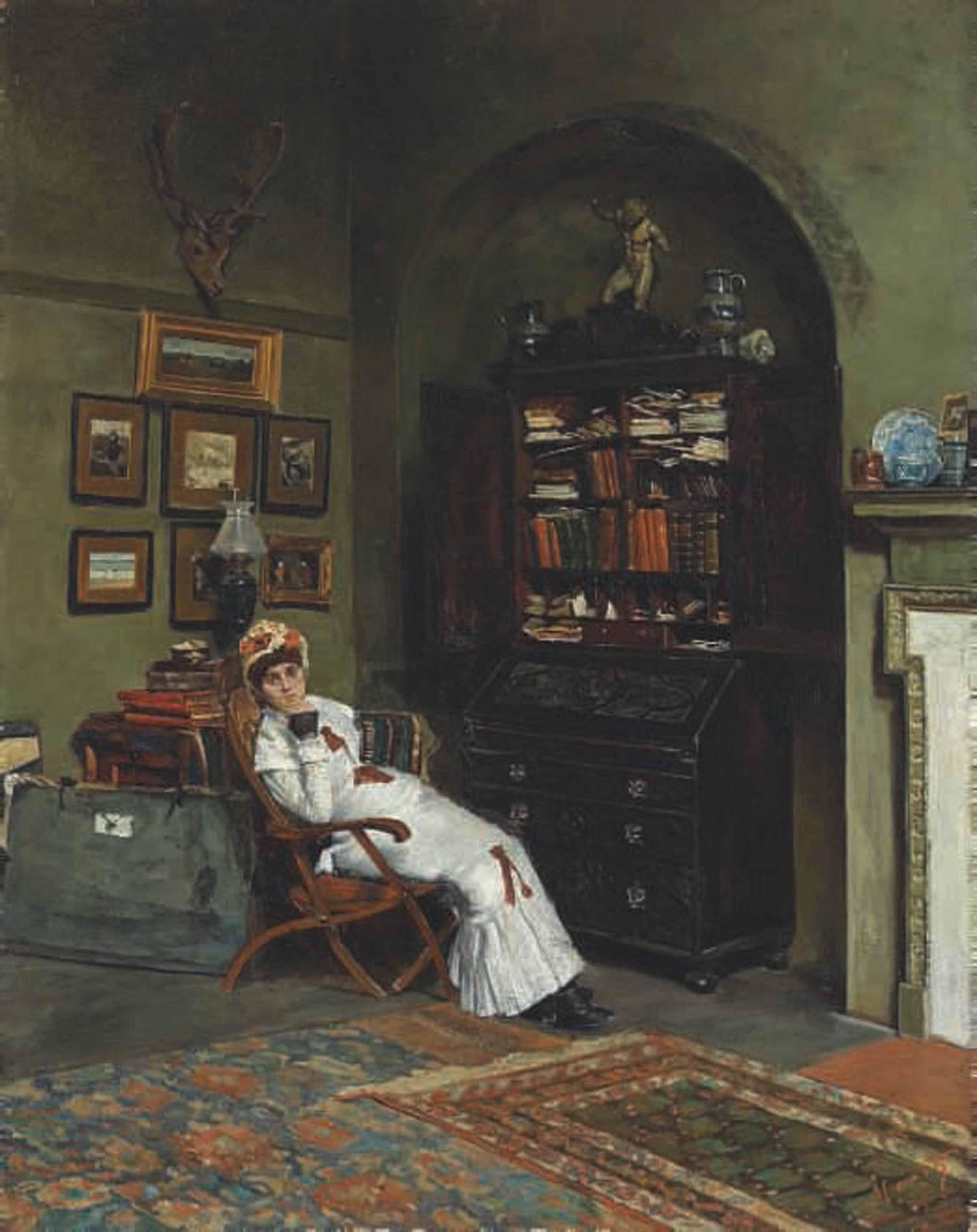 Portrait of Esther Kenworthy Waterhouse in the artist's studio, Primrose Hill