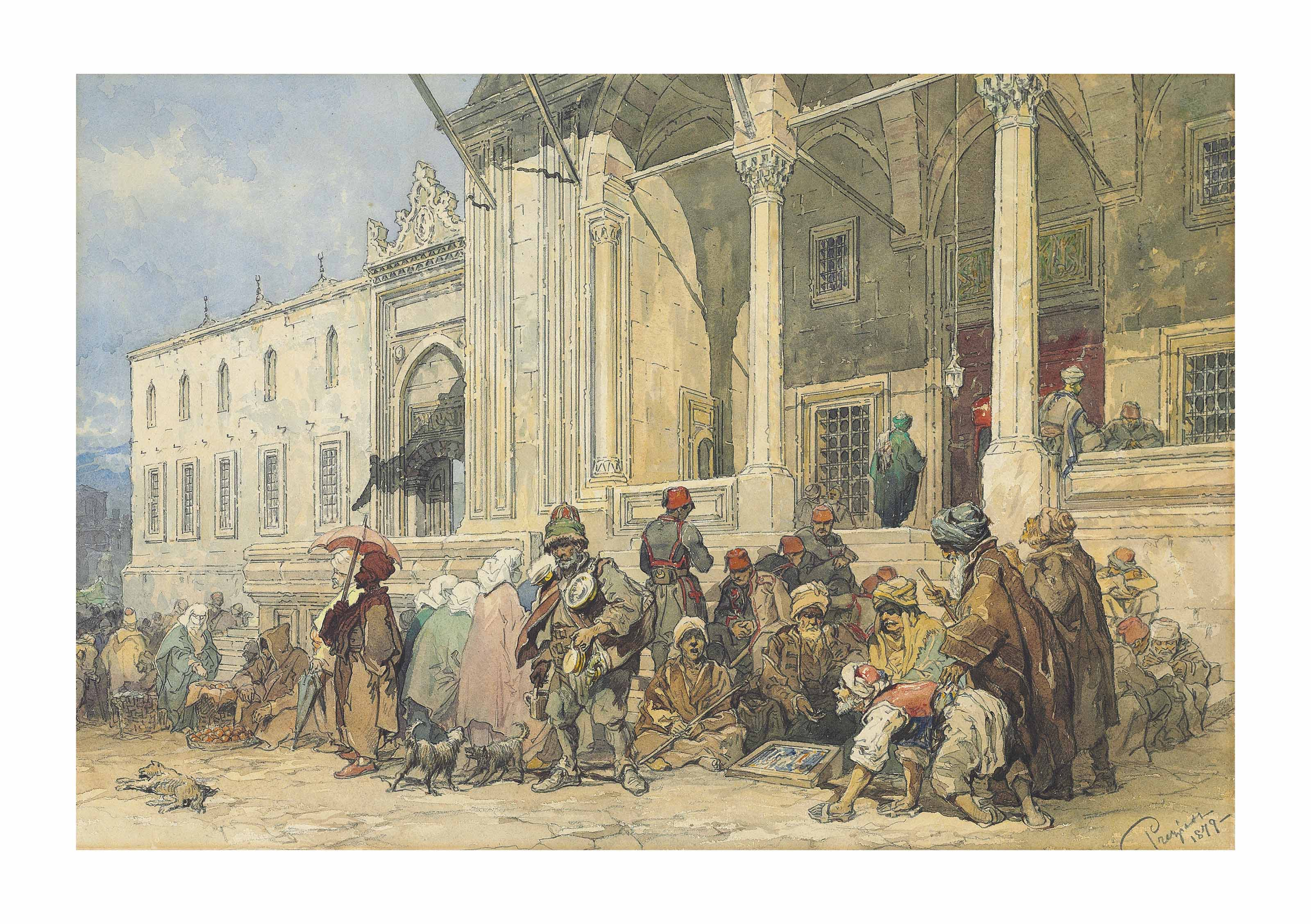 A market in front of the New Mosque (Yeni Cami), Constantinople