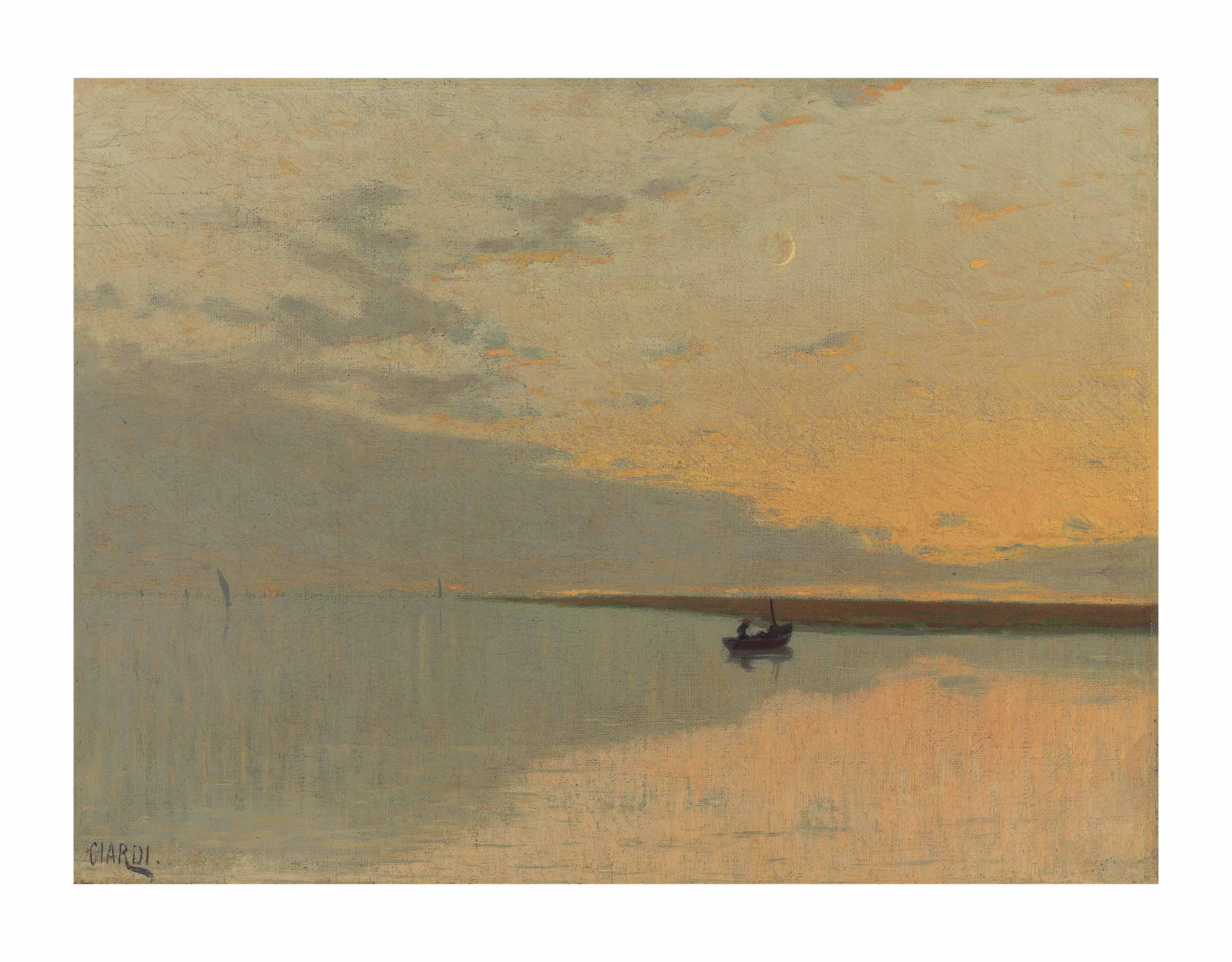 View of the Venetian Lagoon at sunset