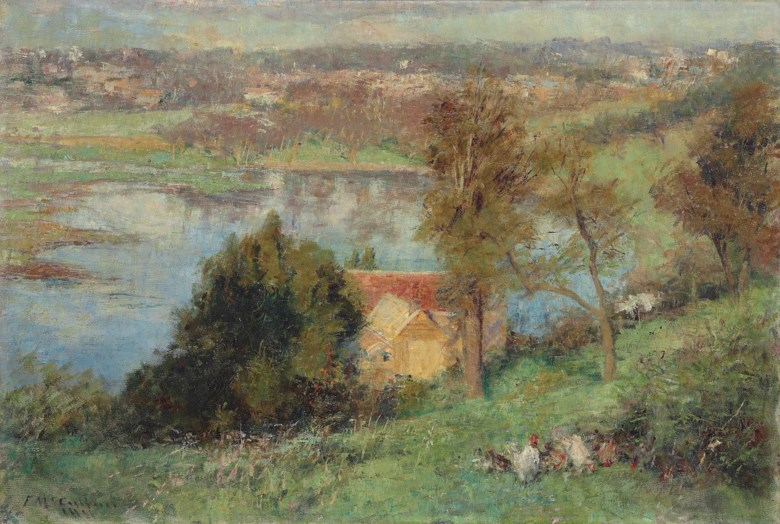 Frederick McCubbin (1855-1917), The Yarra from Kensington Road, South Yarra. 20⅜ x 30 in (51.7 x 76.5 cm). Estimate £100,000-150,000. This lot is offered in Australian Art on 14 December 2017  at Christie's in London