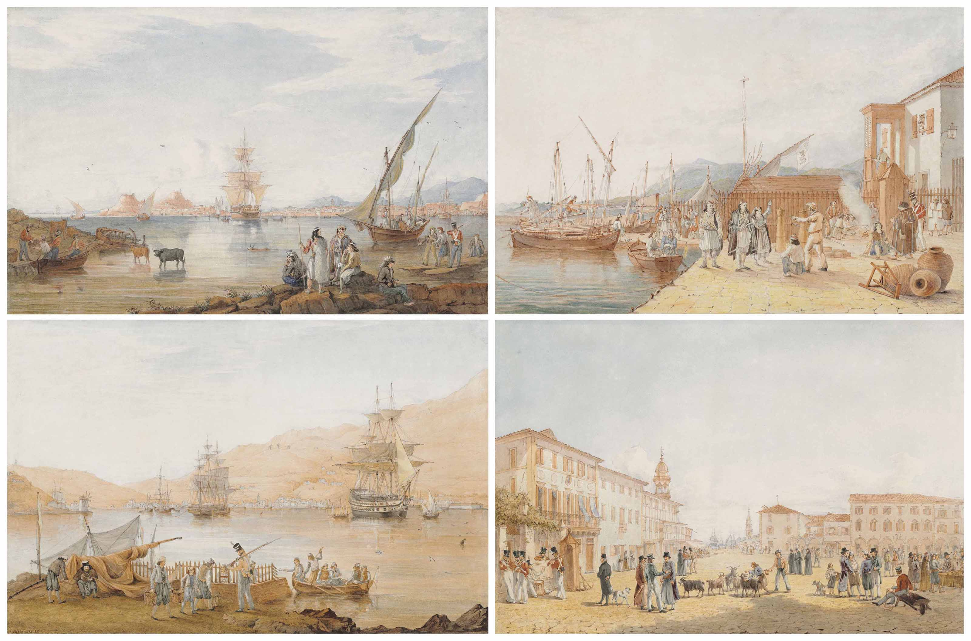Views in the Ionian Islands: The Town, Citadel, and the Harbour of Corfu, from the Island of Vido.Town; The Sanita, or Health Office, at Santa Maura; View of the Town and Harbour of Vathi, in Ithaca; and The Piazza of Saint Mark, in Zante
