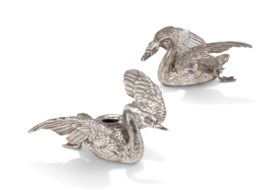 TWO JEWELLED PARCEL-GILT SILVER SWAN-FORM CANDLE HOLDERS