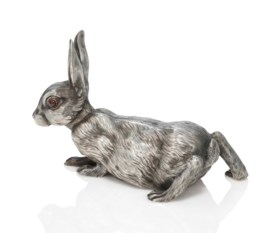 A JEWELLED SILVER BELL-PUSH IN THE FORM OF A RABBIT
