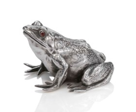 A JEWELLED SILVER BELL-PUSH IN THE FORM OF A FROG