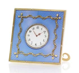 A JEWELLED GUILLOCHÉ ENAMEL AND SILVER-GILT DESK CLOCK