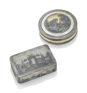 TWO PARCEL-GILT SILVER AND NIELLO SNUFF-BOXES