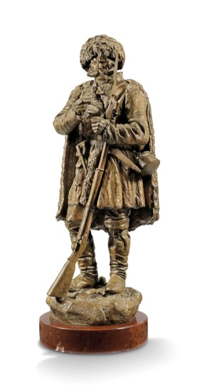 A BRONZE FIGURE OF A NIKOLAEVSKY SOLDIER IN THE CAUCASUS