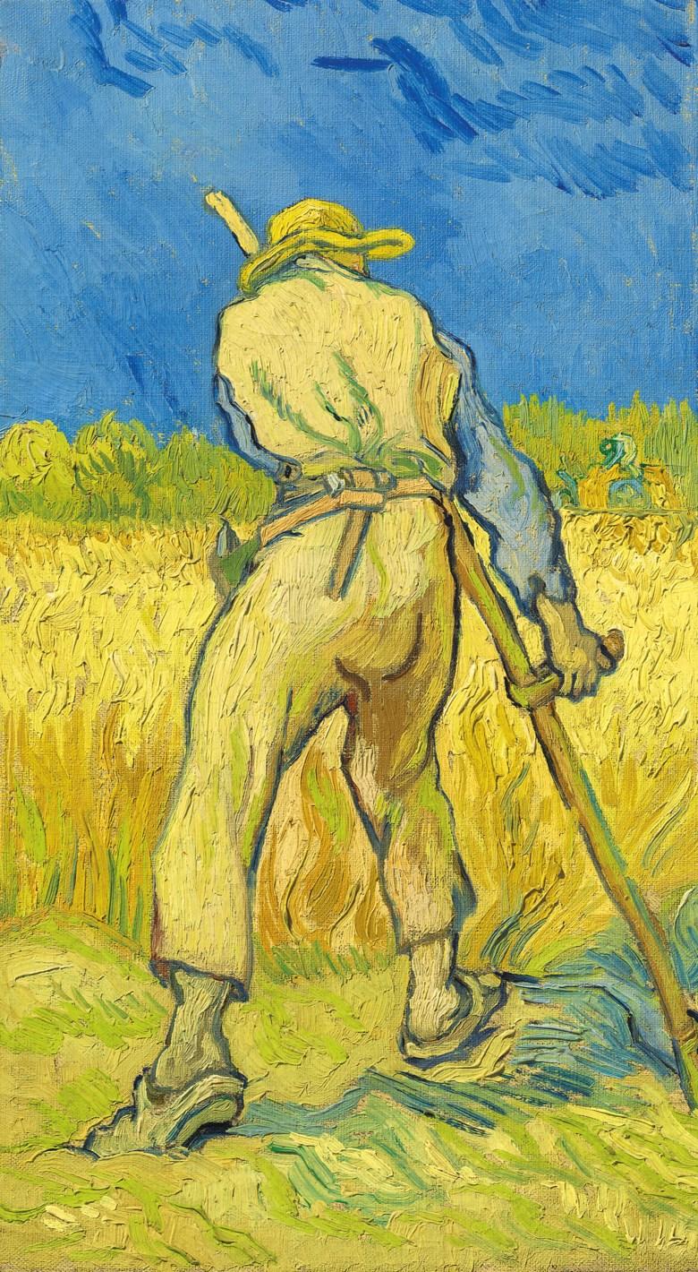 Vincent van Gogh (1853-1890), Le moissonneur (d'après Millet). Painted in Saint-Rémy in 1889. Oil on canvas. 17 × 9⅝ in (43.3 × 24.3 cm). Sold for £24,245,000 on 27 June at Christie's London