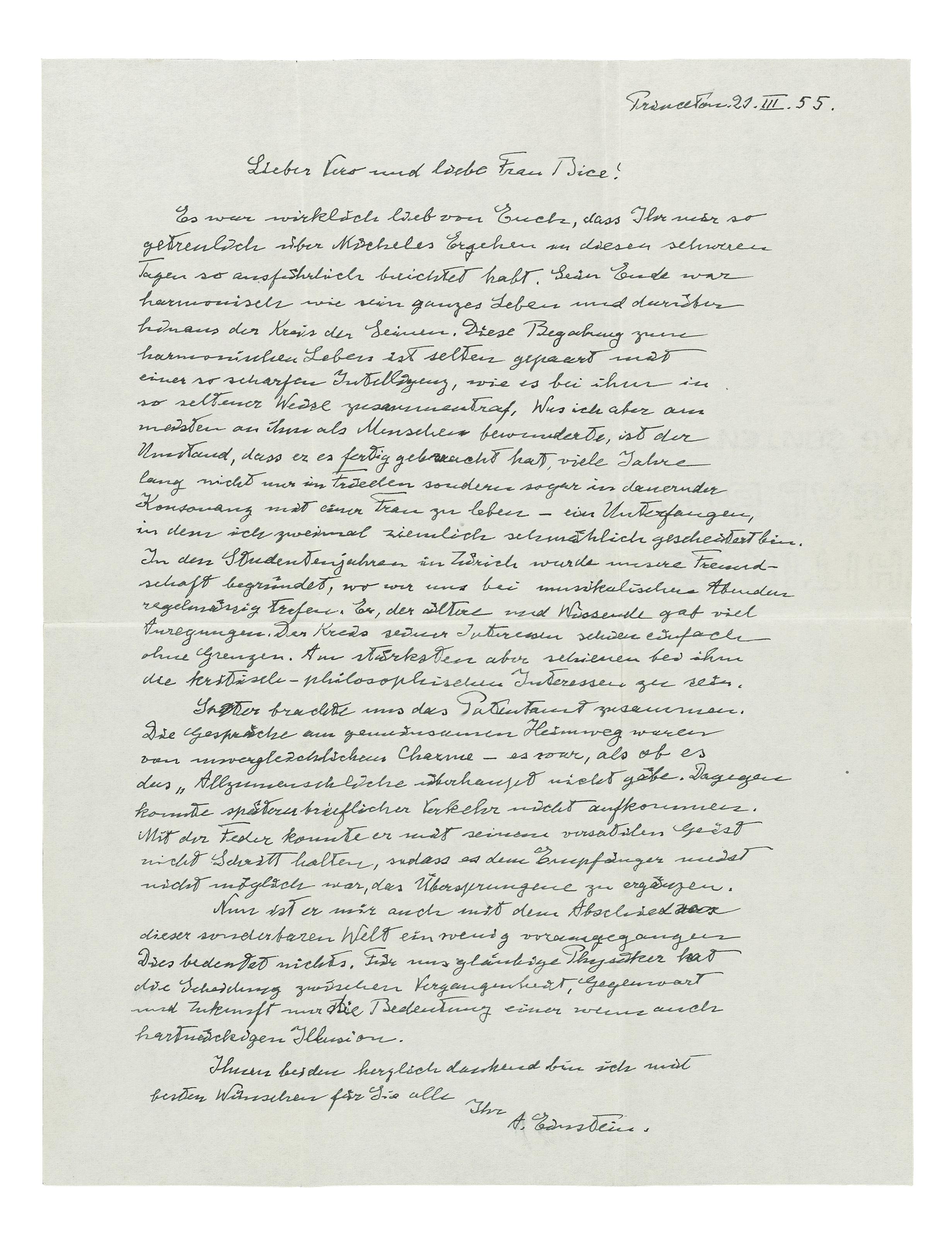 EINSTEIN, Albert (1879-1955). Autograph letter signed ('A. Einstein') to Michele Besso's son, Vero, and sister, Bice Rusconi ('Lieber Vero und liebe Frau Bice'), Princeton, 21 March 1955.