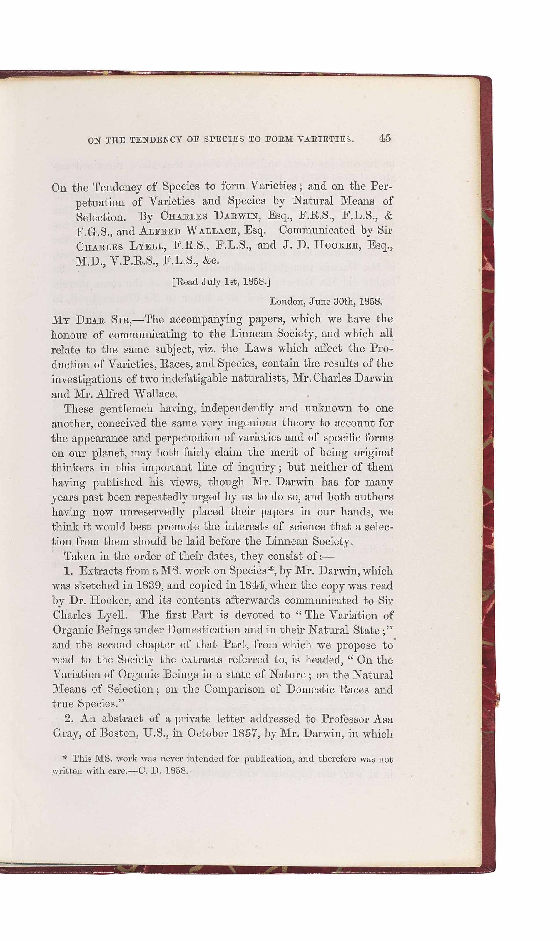 DARWIN, Charles Robert (1809-1882) and Alfred Russel WALLACE (1823-1913). 'On the Tendency of Species to form Varieties.' Extract from: Journal of the Proceedings of the Linnean Society, Vol. III, No. 9. London: 1858.