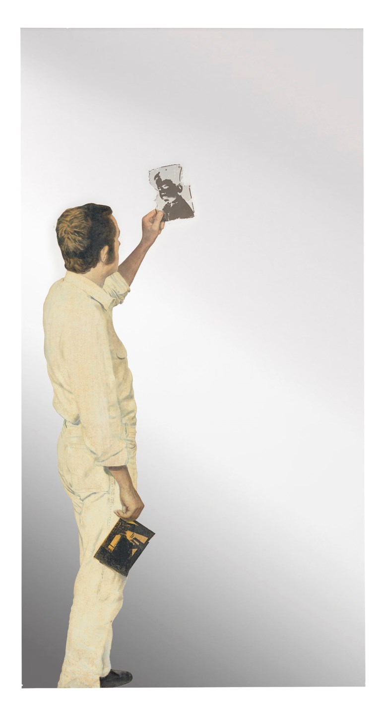 Michelangelo Pistoletto (b. 1933), Uomo che guarda un negativo (Man Looking at a Negative), executed in 1967. 90½ x 47¼ in (230 x 120 cm). Estimate £2,500,000-3,500,000. This lot is offered in Thinking Italian on 6 October 2017  at Christie's in London